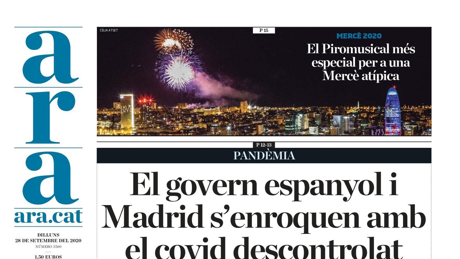 """""""El govern espanyol i Madrid s'enroquen amb el covid descontrolat"""", la portada de l'ARA"""