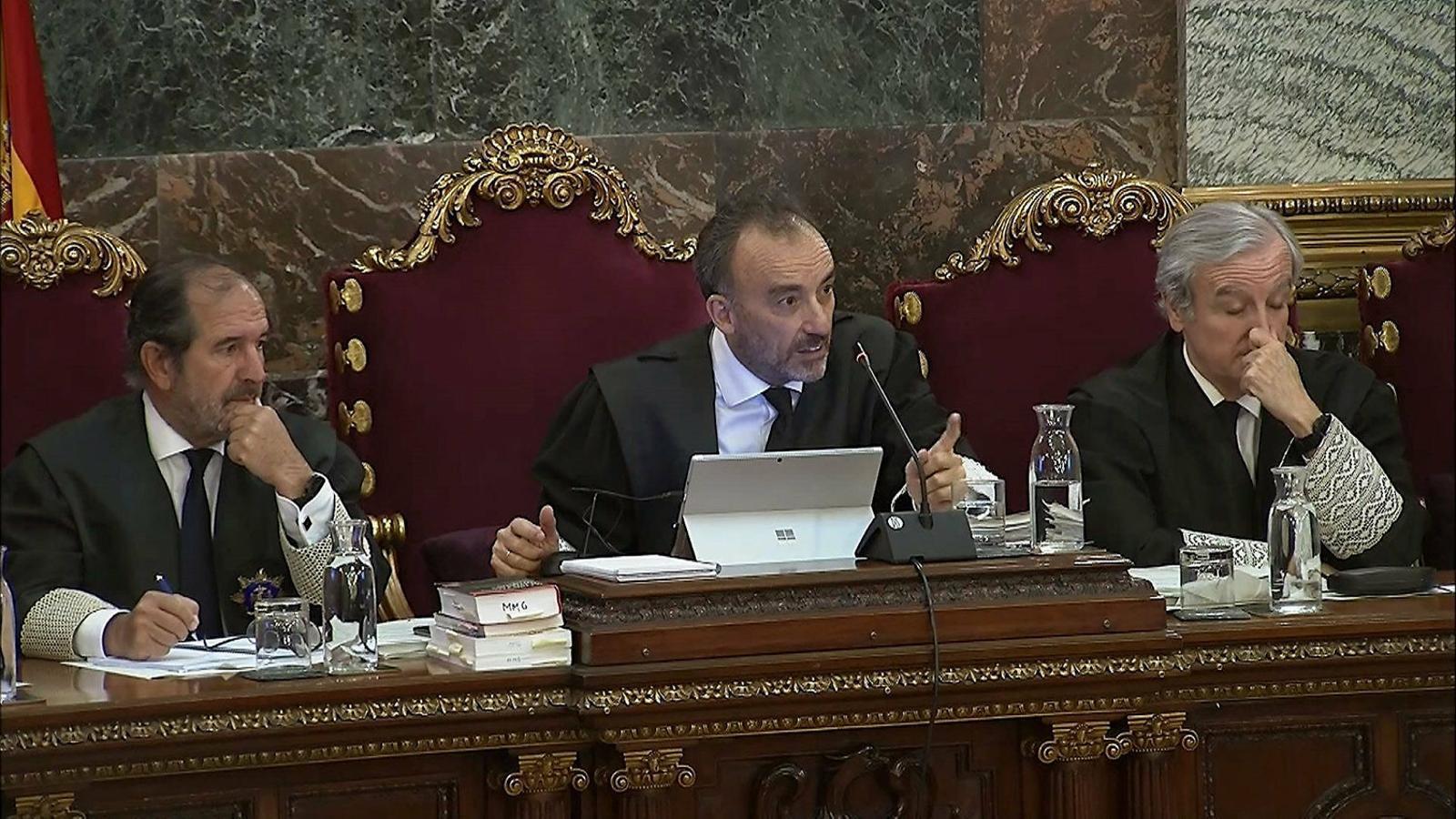 El jutge del Tribunal Suprem Manuel Marchena durant el judici del Procés. / EFE