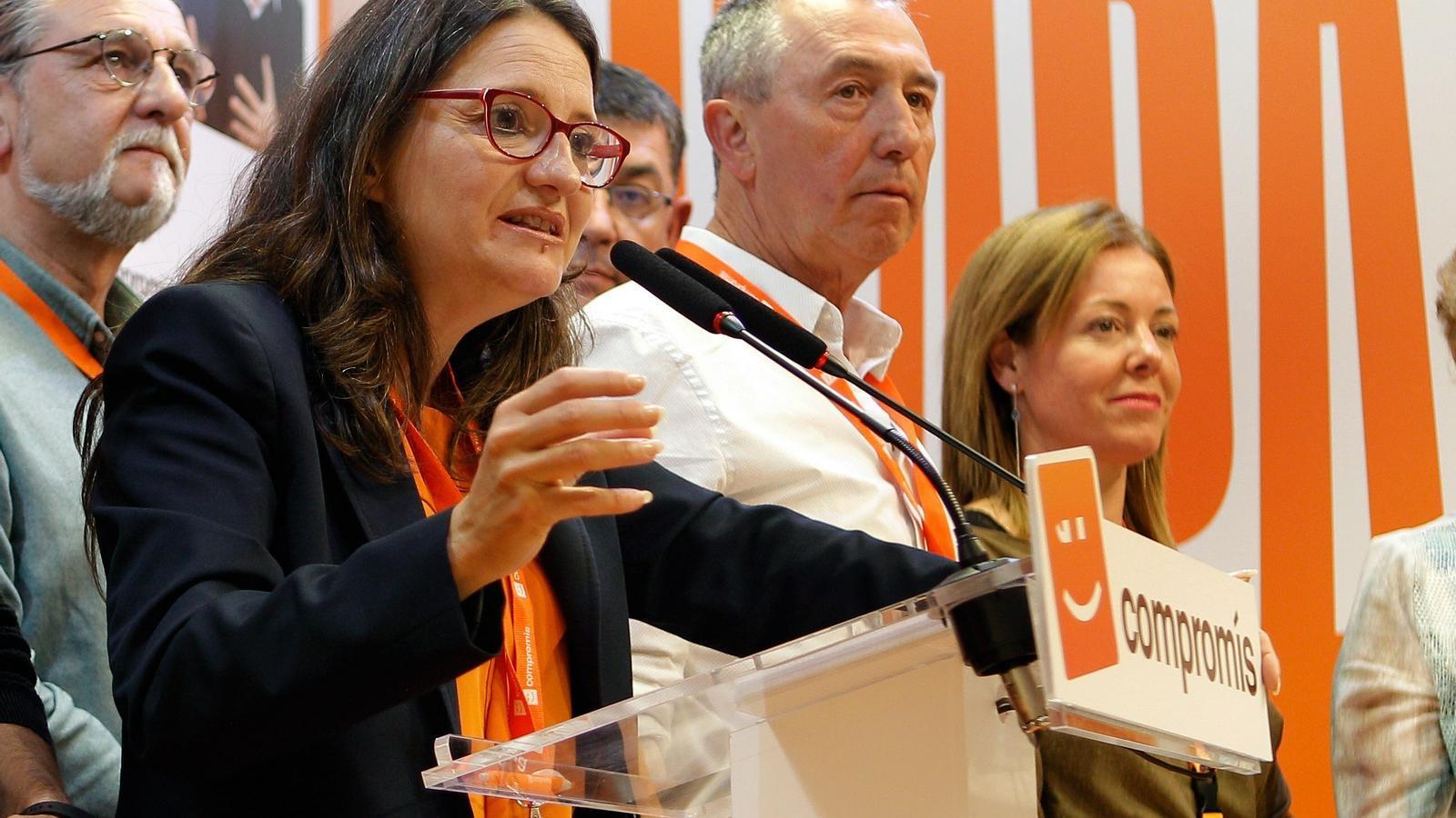 La líder de Compromís, Mónica Oltra, valorant els resultats aconseguits en les eleccions a les Corts Valencianes
