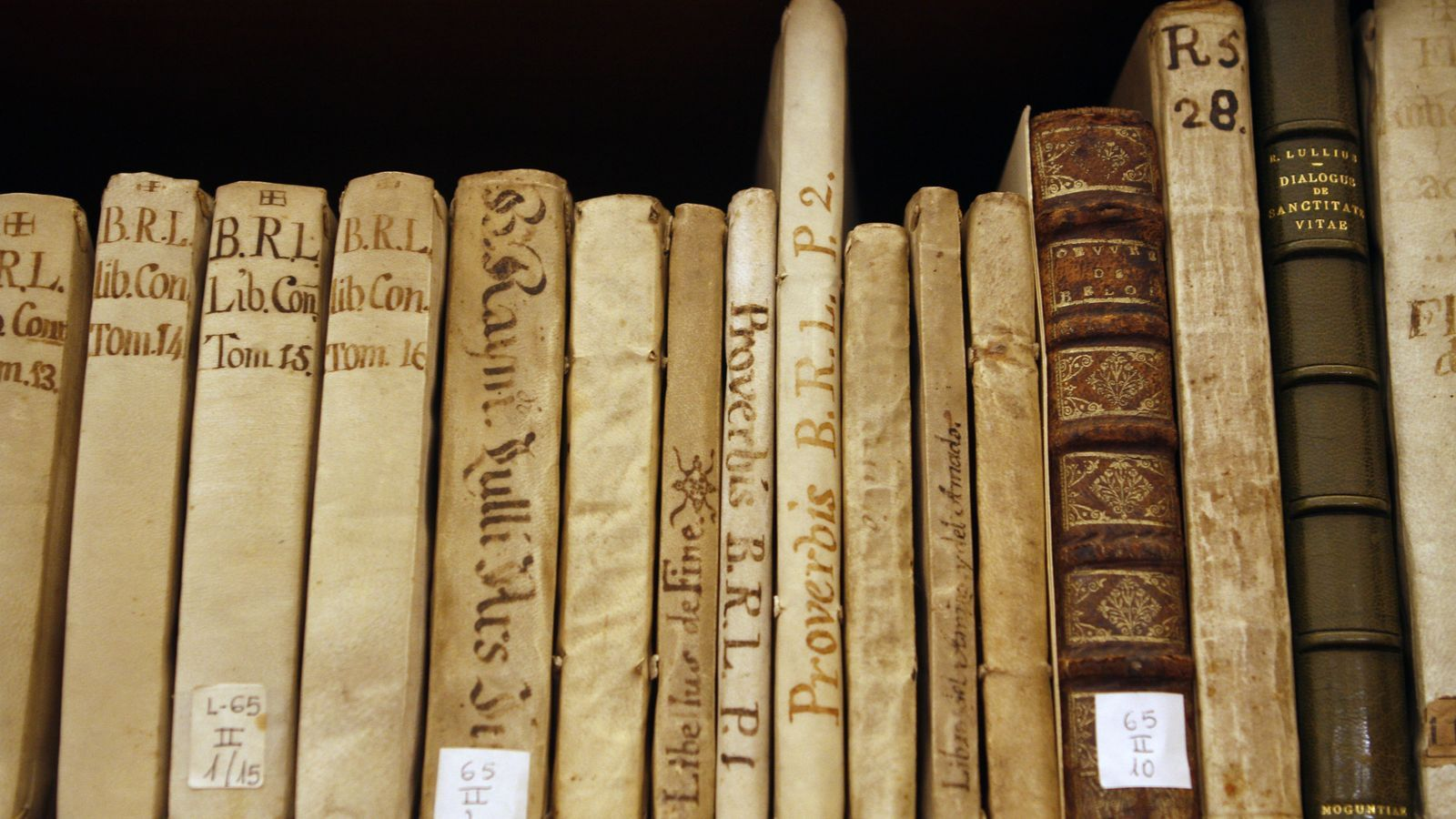 Llibres de Ramon Llull a la biblioteca del Palau March de Palma.