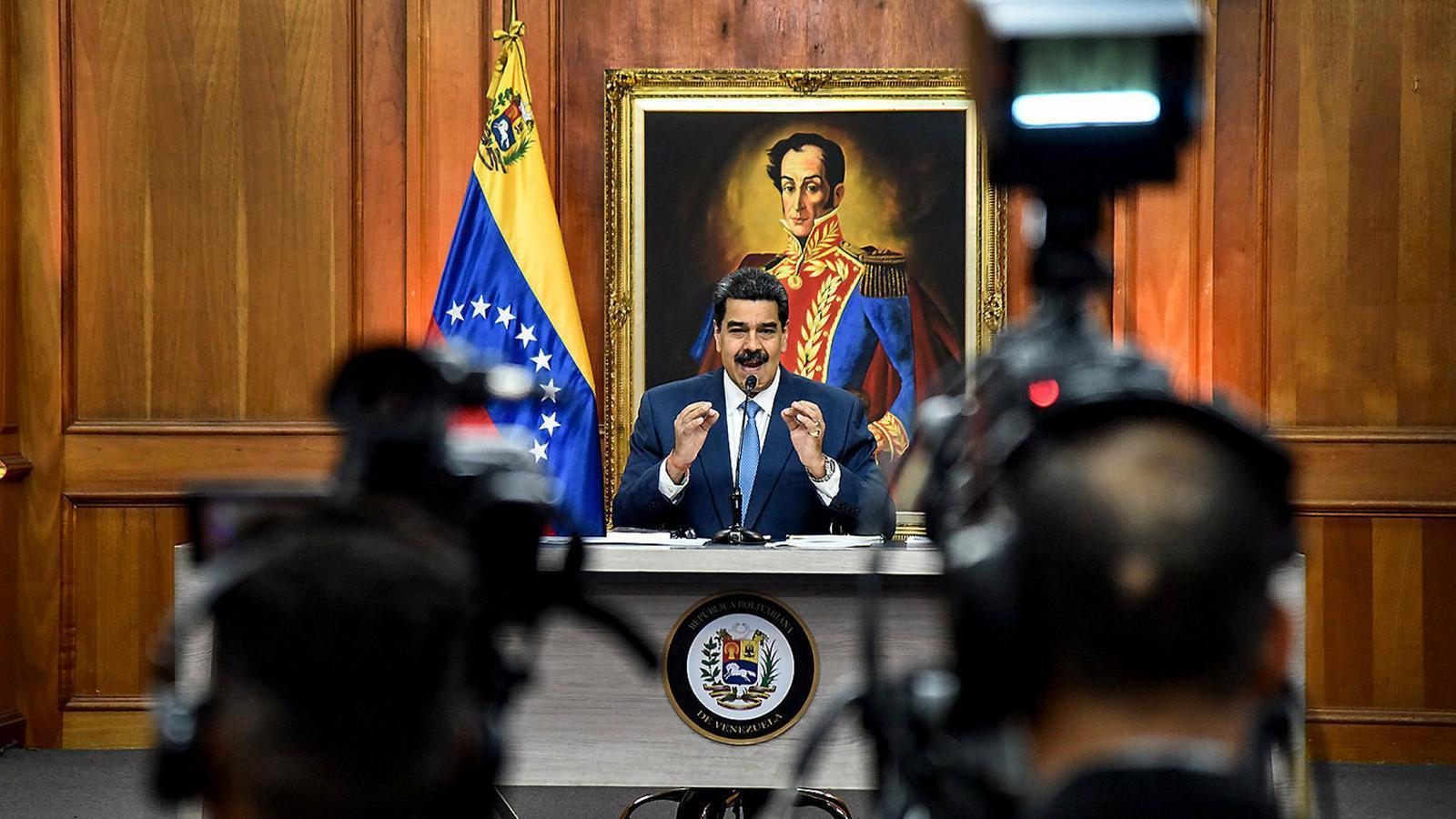 El cap de govern de Veneçuela, Nicolás Maduro, aquest mes de febrer en una conferència de premsa.