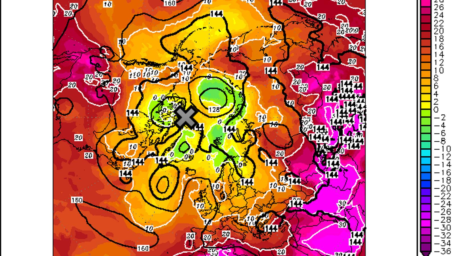 Anàlisi del model GFS de la temperatura a 850 hPa (uns 1500 metres d'altitud) del dia 14 de juliol a les 12 UTC. La localització d'Alert està marcada amb una 'X' grisa.