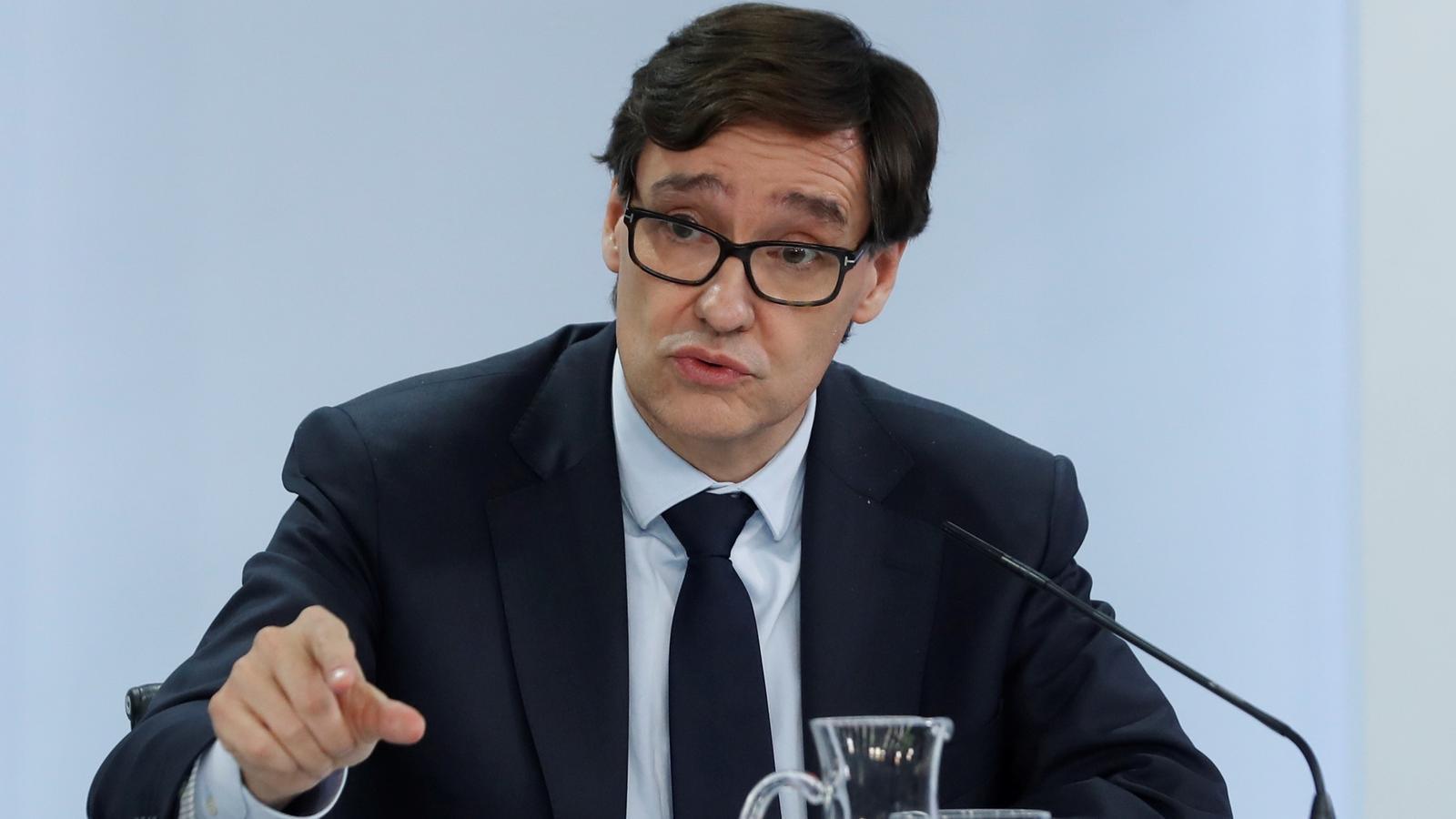 El ministre de Sanitat, Salvador Illa, durant la roda de premsa posterior al consell de ministres.