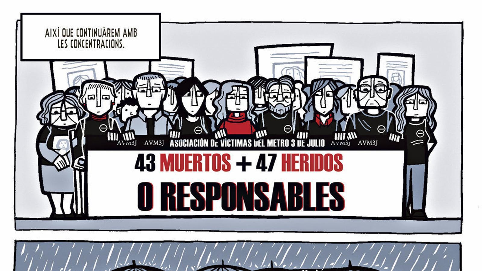 A l'esquerra, pàgina d'El dia 3 que recrea les concentracions de l'Associació de Víctimes del Metro de València. A la dreta, la parada de metro on va tenir lloc l'accident. A sota, l'última concentració de l'associació el 3 de juliol del 2015.