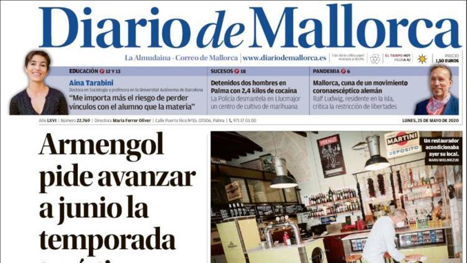 """""""Armengol demana avançar a juny la temporada turística a les Balears"""", portada de 'Diario de Mallorca'"""