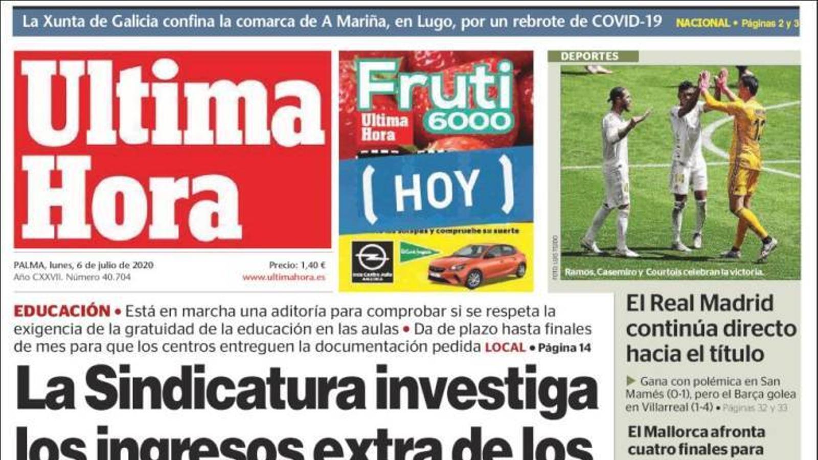 """""""La Sindicatura investiga els ingressos extra de les escoles concertades"""", portada de l''Última Hora'"""