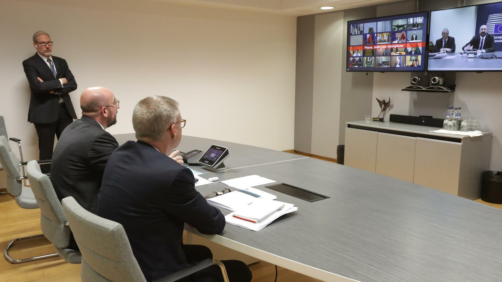 El president del Consell Europeu, Charles Michel, en videoconferència amb els líders de la UE