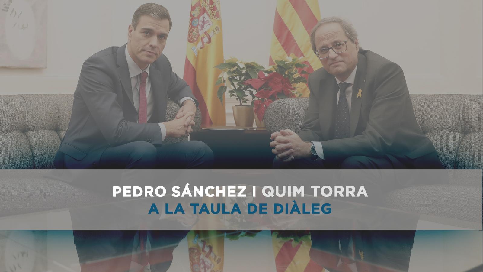 Pedro Sánchez i Quim Torra a la taula de diàleg