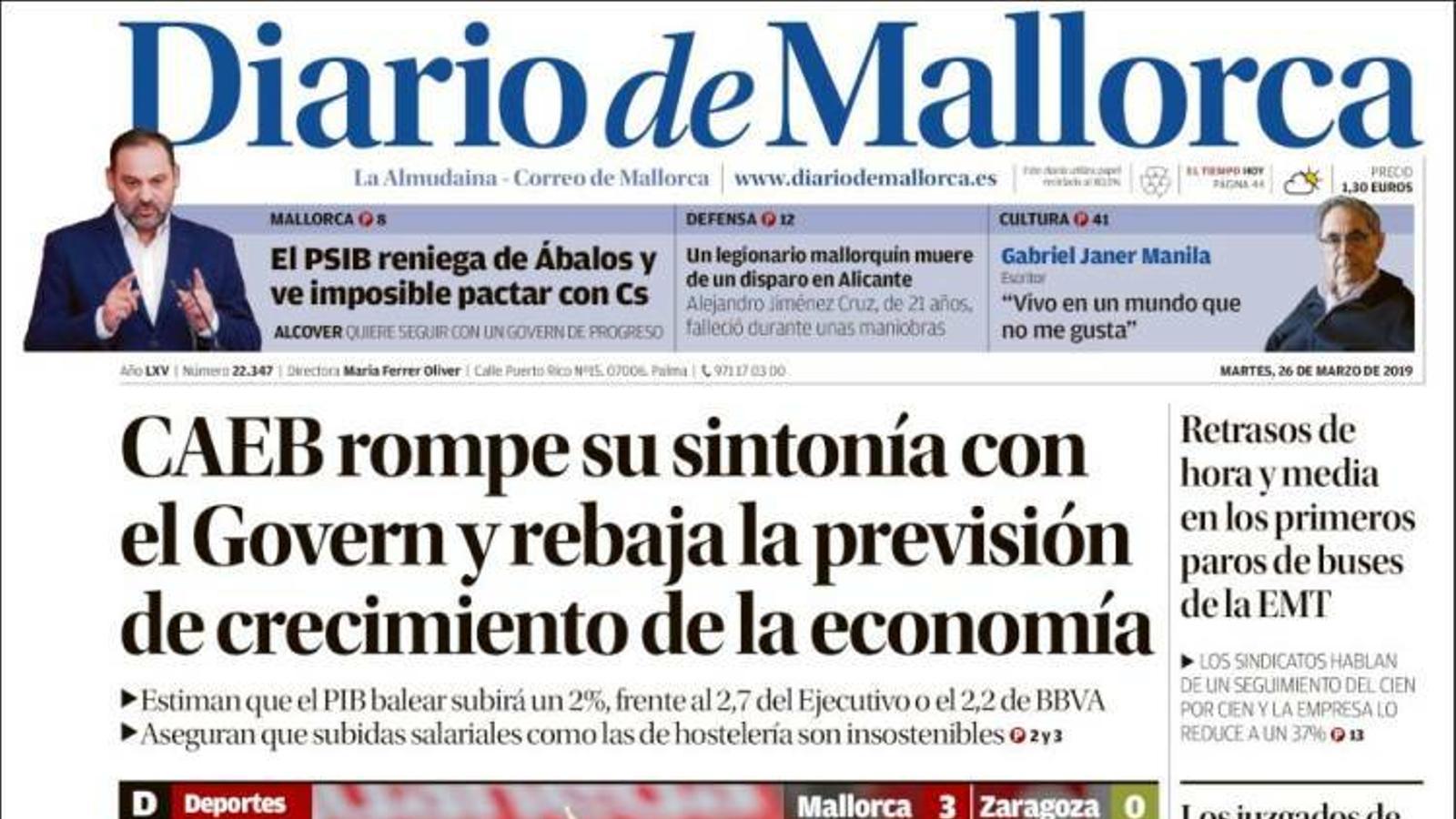 """""""La Guàrdia Civil apunta a Jordi Sànchez: 'Duia la veu cantant el 20-S'"""", portada de 'Diario de Mallorca'"""