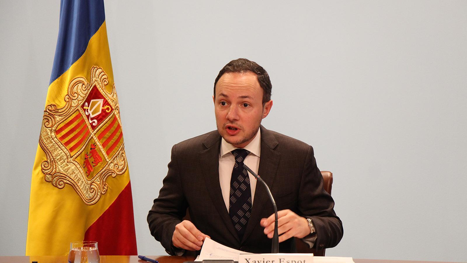 El ministre Xavier Esport durant la roda de premsa d'aquest dimecres. / M. T. (ANA)