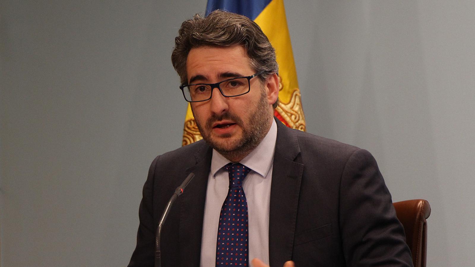 El ministre portaveu, Eric Jover, a la roda de premsa posterior al consell de ministres. / M. F. (ANA)