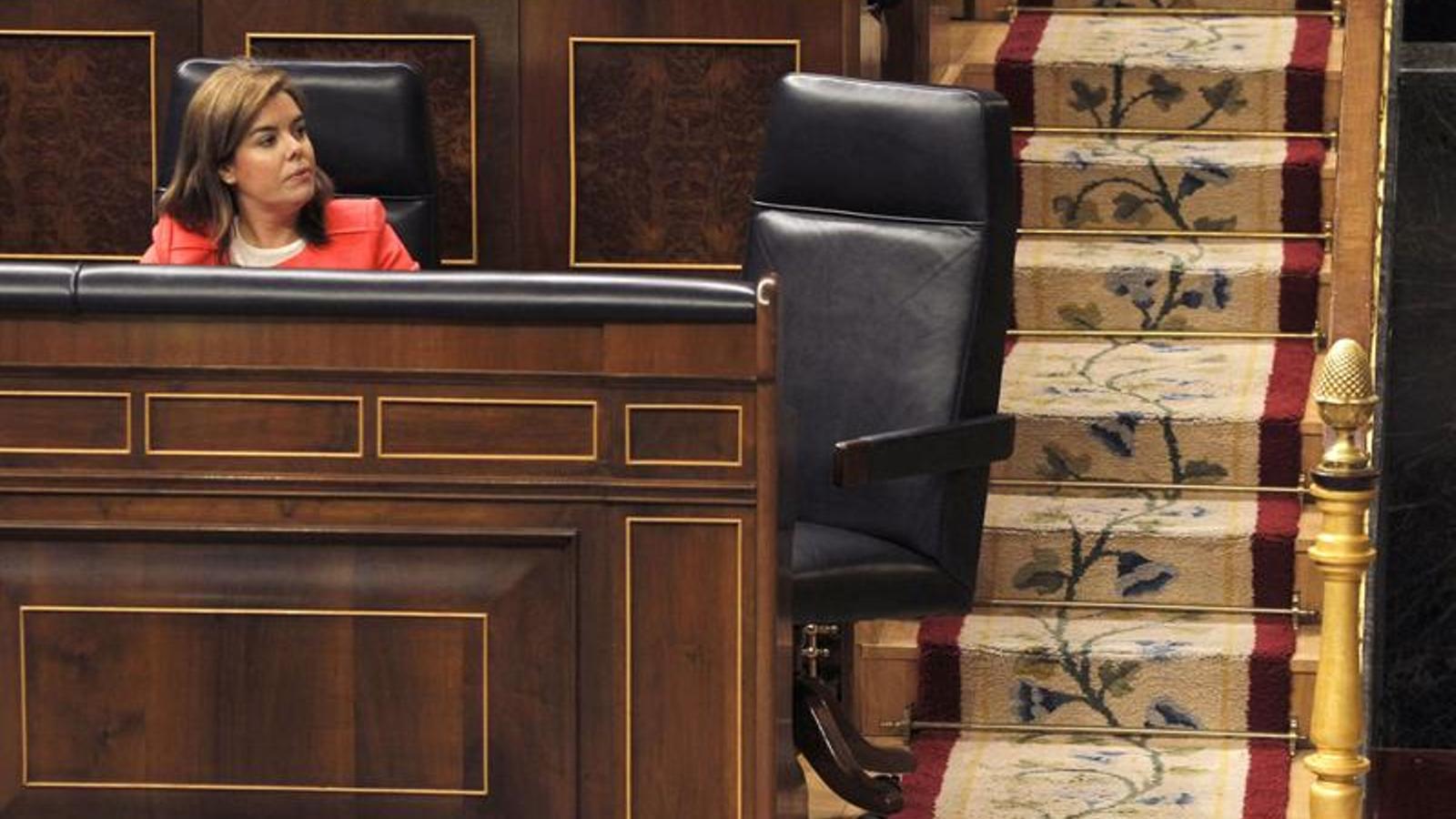 La vicepresidenta espanyola, durant al ple del Congrés dels Diputats d'aquest dijous / ACN