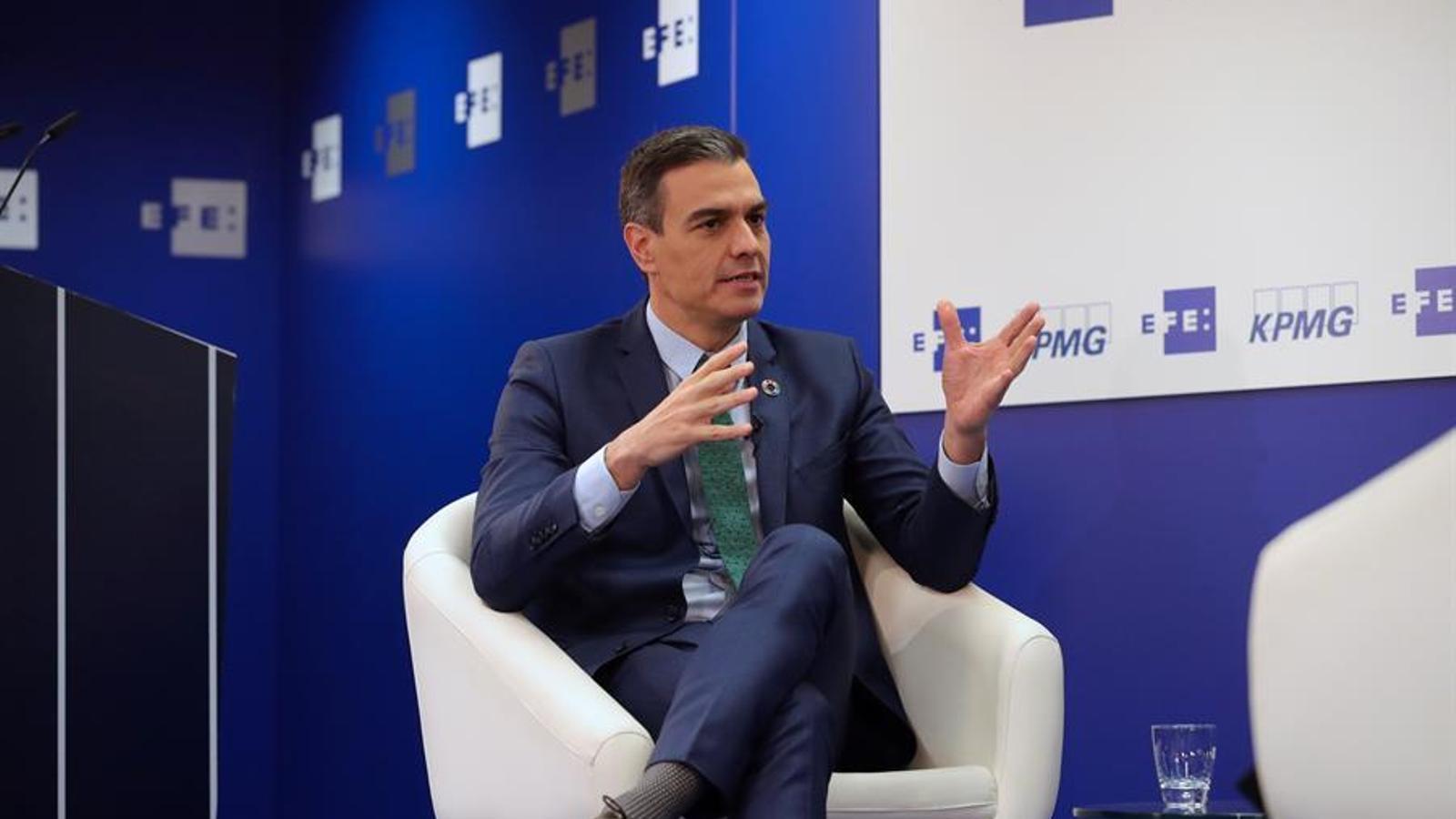 El president del govern espanyol, Pedro Sánchez, durant l'acte aquest dimecres.