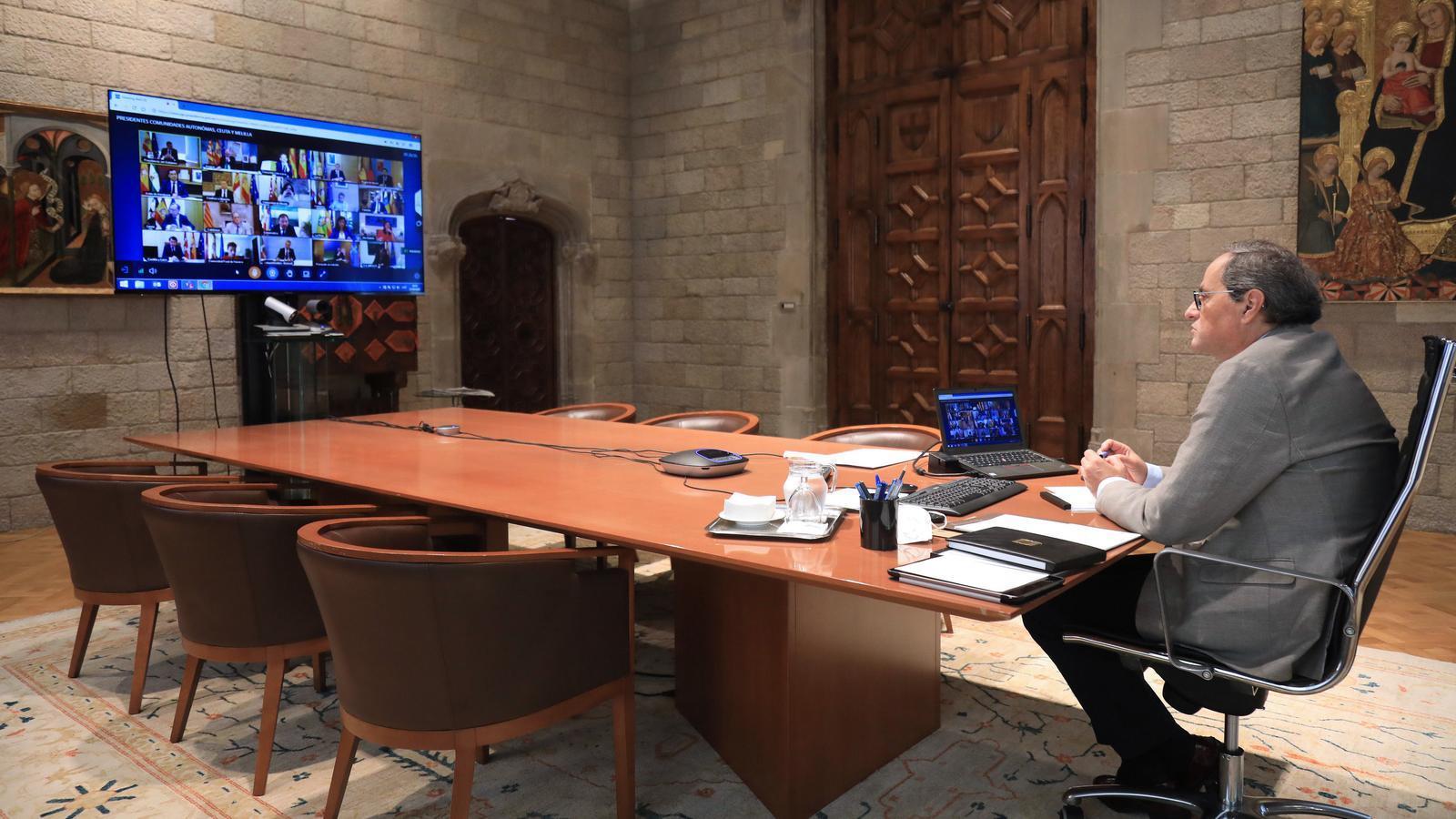 Quim Torra participant aquest diumenge en la reunió de Sánchez amb presidents autonòmics