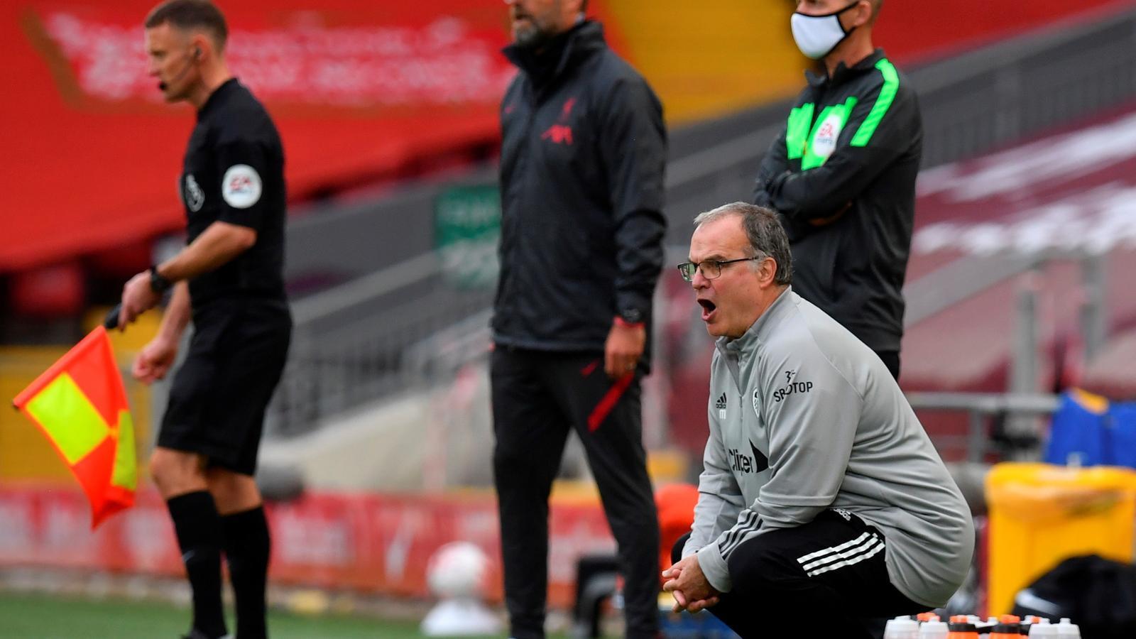 Marcelo Bielsa i Jurgen Klopp en el partit entre el Liverpool i el Leeds