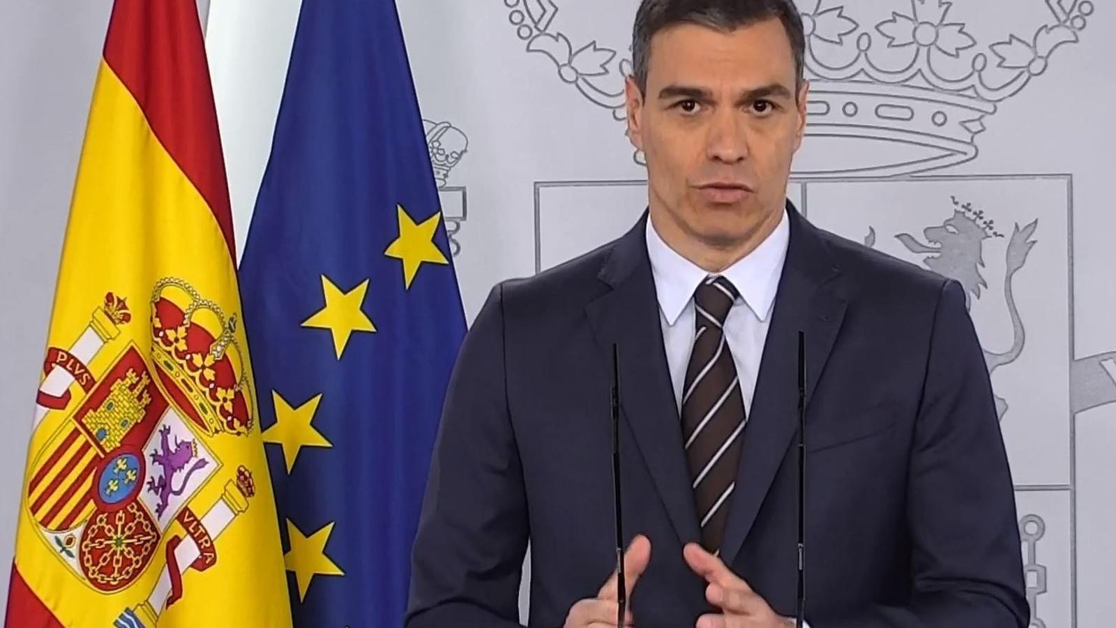 El president del govern espanyol, Pedro Sánchez, durant la compareixença d'aquest dissabte.