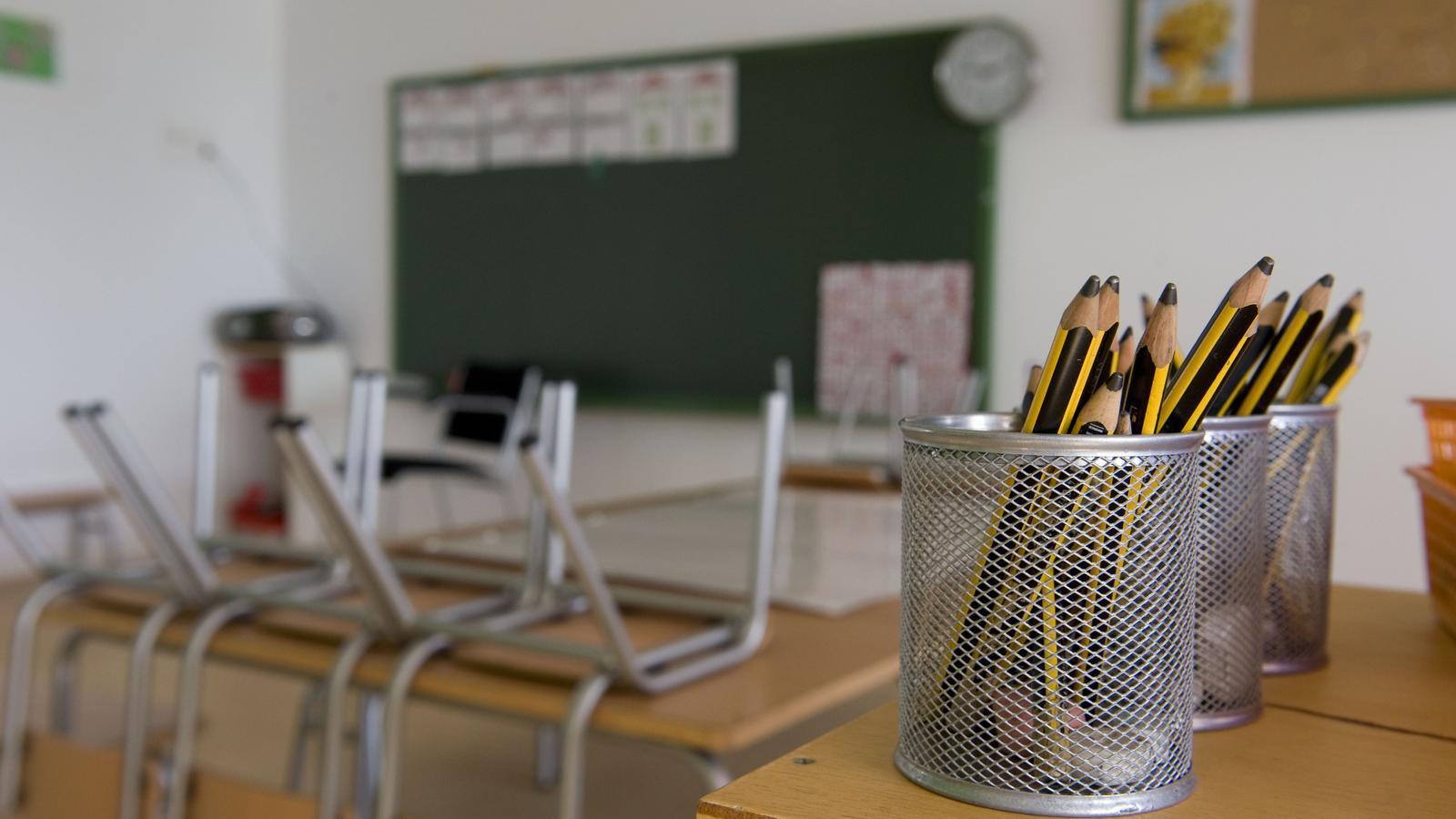 L'aula d'una escola de Menorca.