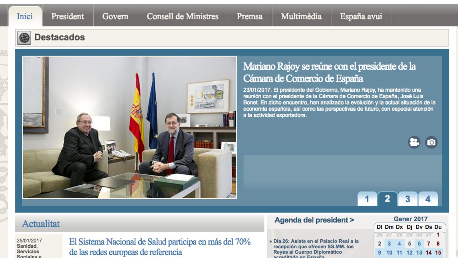 La versió en català de la pàgina de La Moncloa, en castellà.