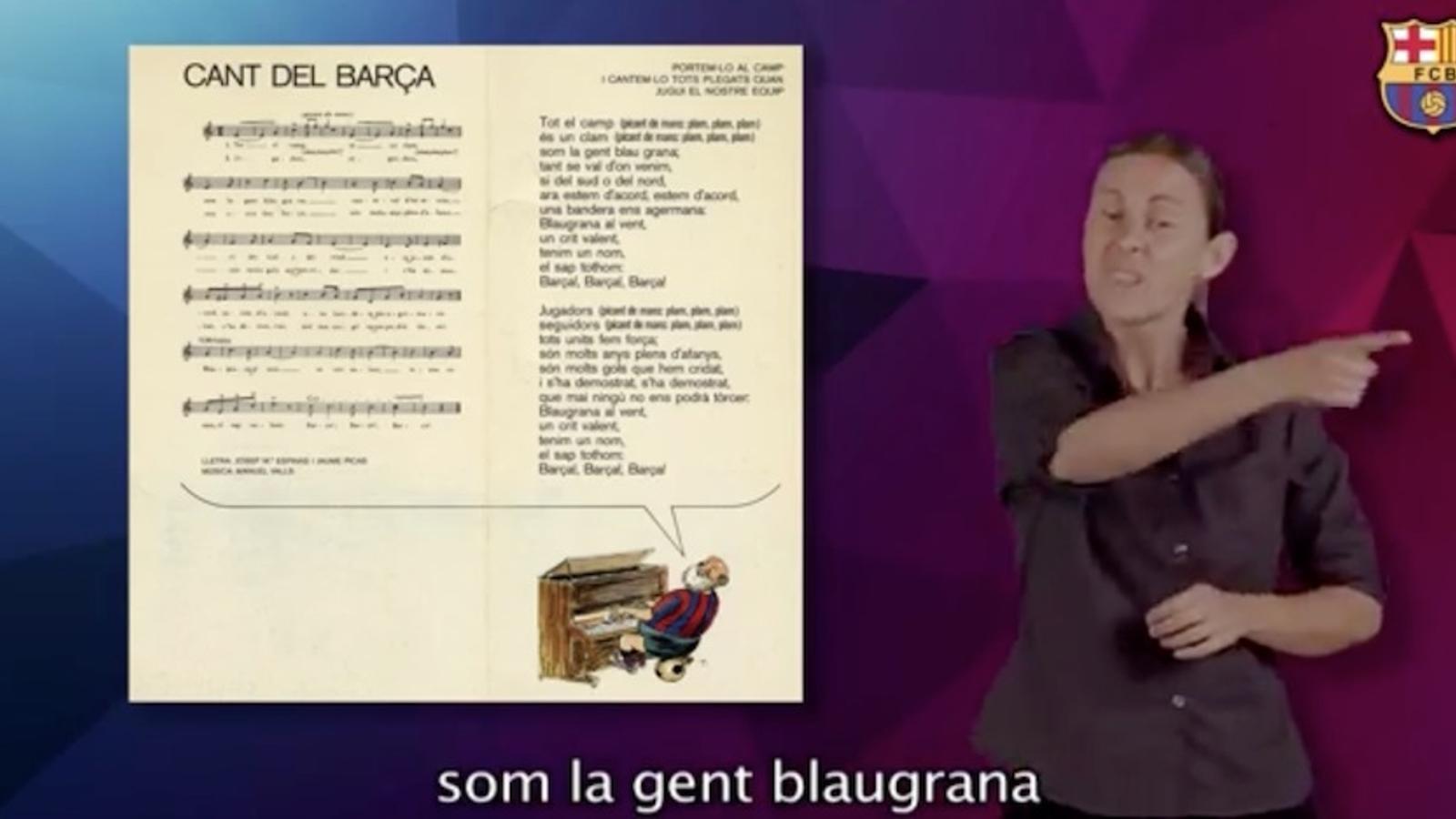 El cant del Barça, en llengua de signes catalana