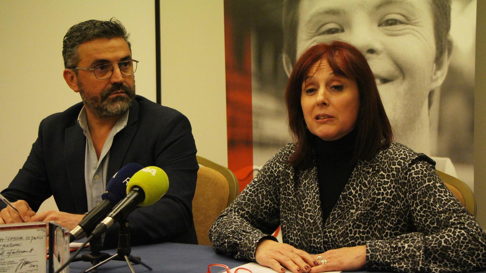 El president d'Special Olympics Andorra, Àlex Terés, i la secretària general, Coia Sedó. / C. A. (ANA)