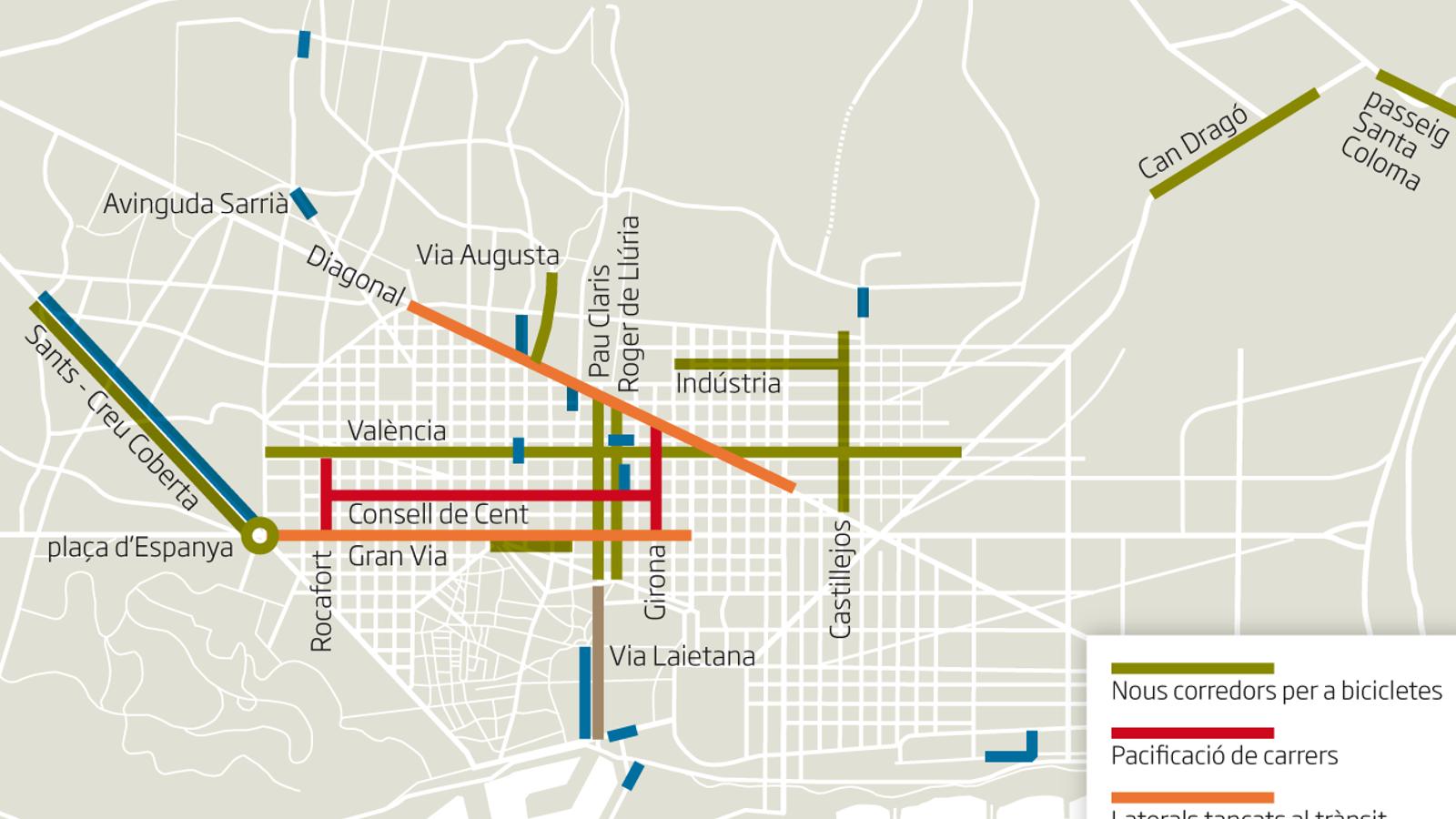 Barcelona es prepara per al postconfinament: pintarà voreres més amples i habilitarà corredors bici