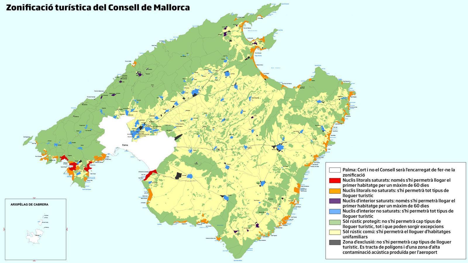 Només es podrà llogar 60 dies a l'any a 31 nuclis de Mallorca