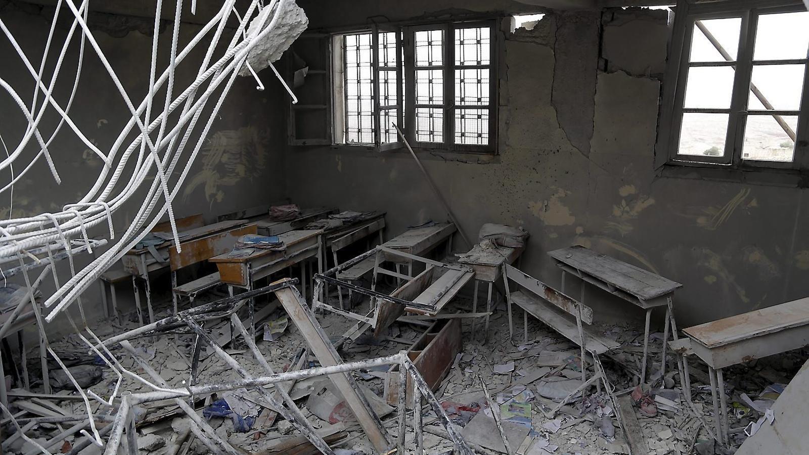 Una escola bombardejada al gener en un dels barris de l'est d'Alep. Els centres són objectiu de guerra.