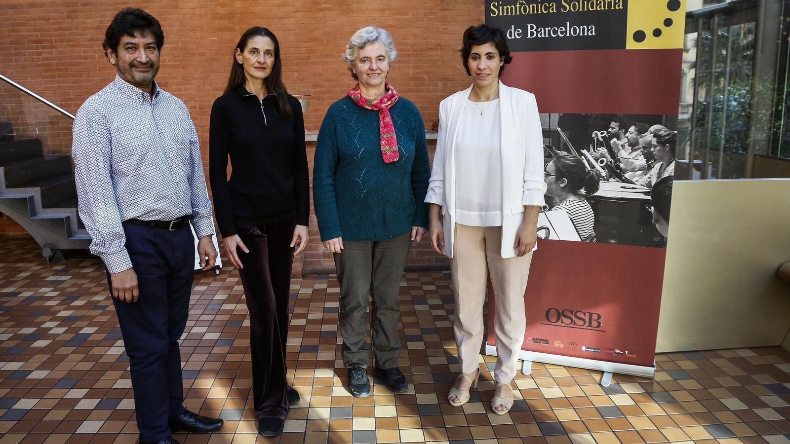 Iván Lorenzana, president de Crearte, Montse de Paz, directora de la Fundació Arsis, Montserrat Morera, Directora del Teatre Sarrià i Clàudia Dubé Oranías, directora d'orquestra.
