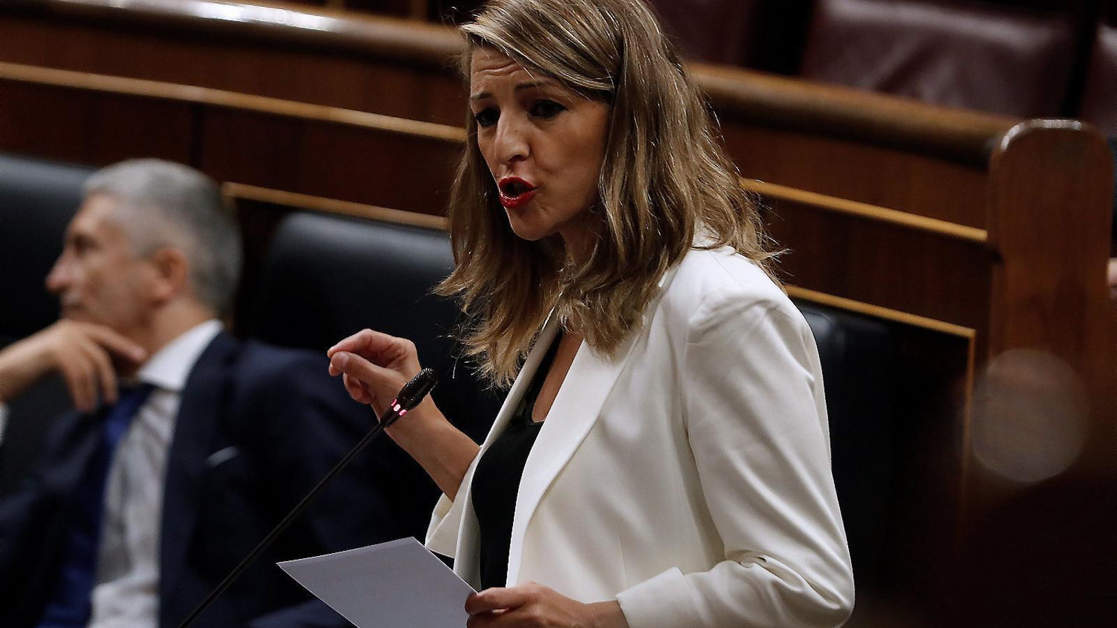 La ministra de Treball, Yolanda Díaz, ahir durant la sessió de control al govern espanyol al Congrés.