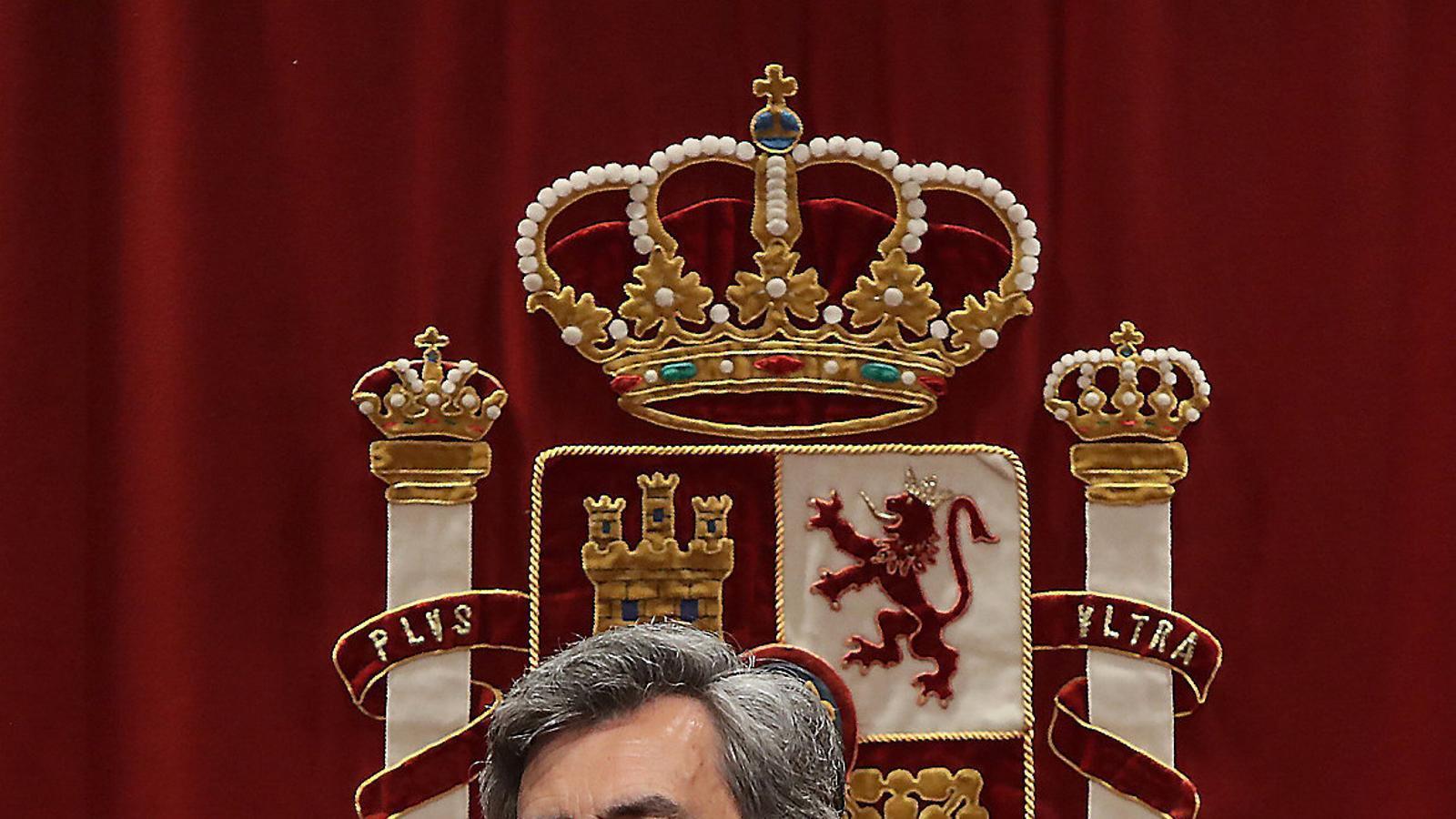 El president del Consell General del Poder Judicial (CGPJ), Carlos Lesmes, dijous en un acte a Madrid. / EFE