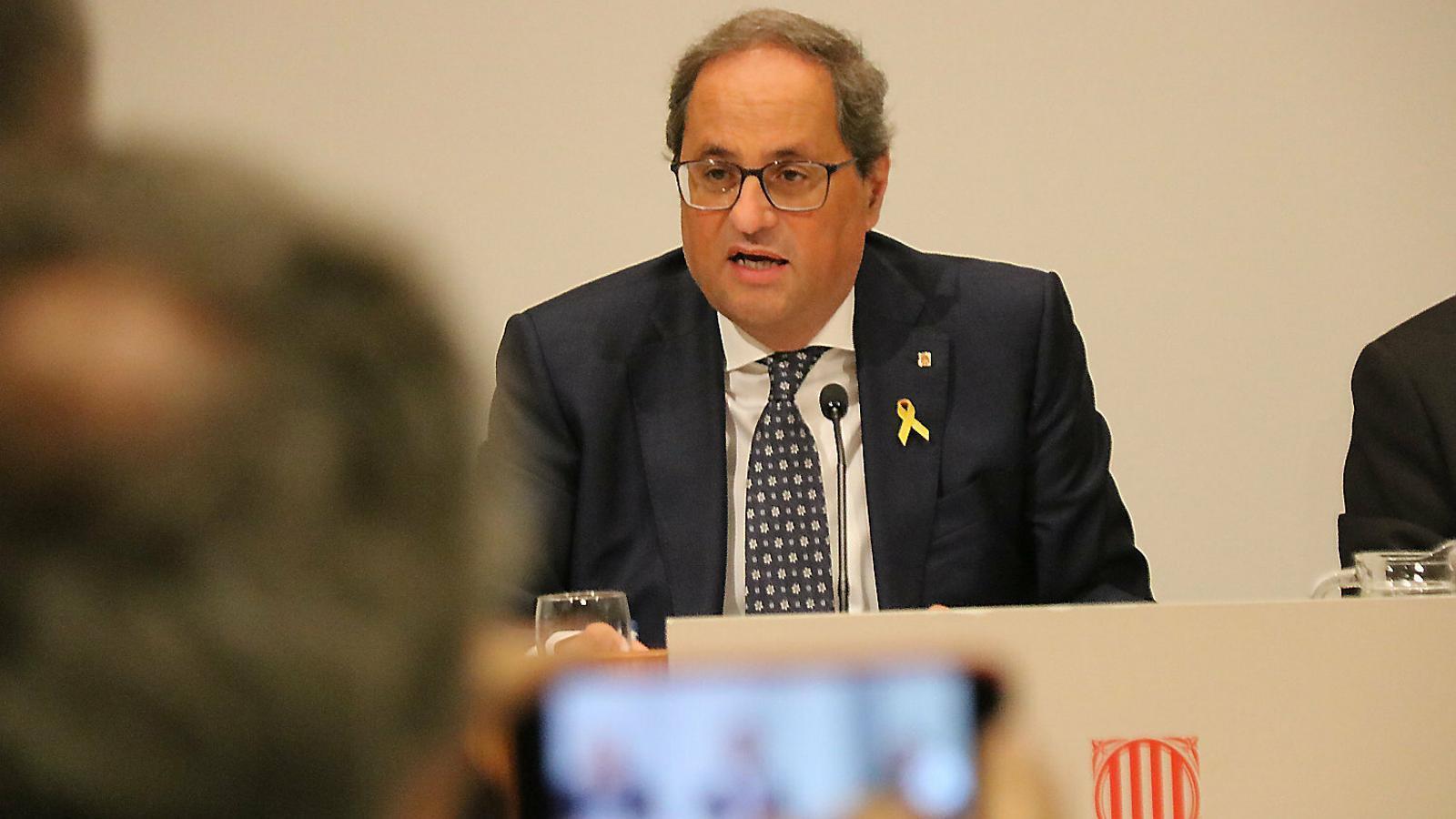 El president de la Generalitat, Quim Torra, en una compareixença pública recent.