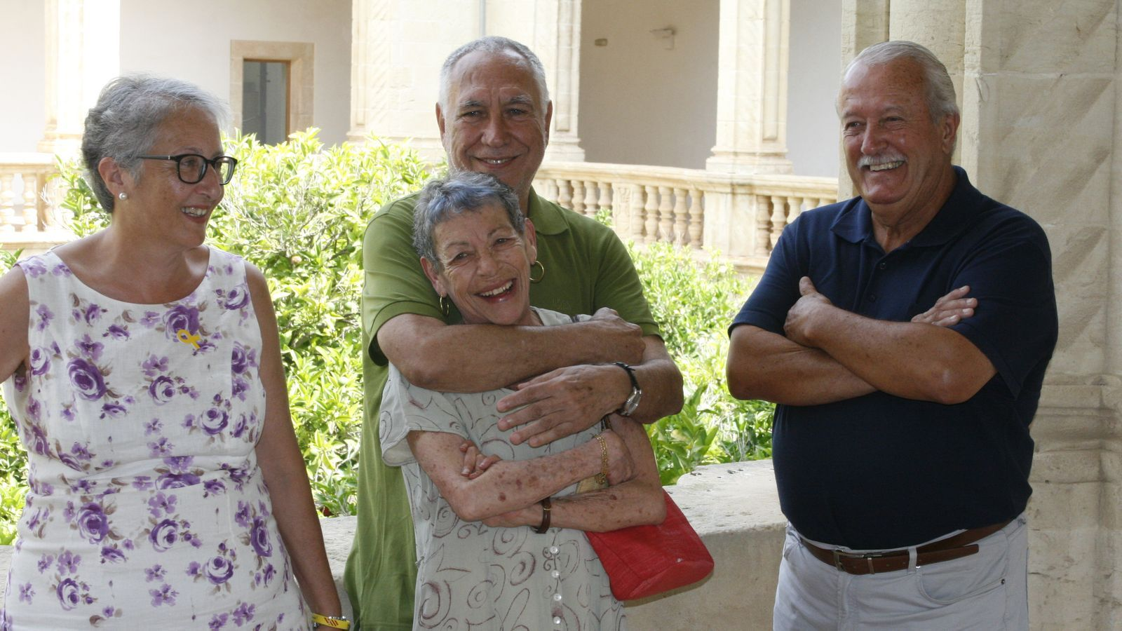 Ambient de camaraderia entre els homenajats. Mònica  Pastor,  Parera Fons, Maria A. Oliver i Miquel A. Soler.