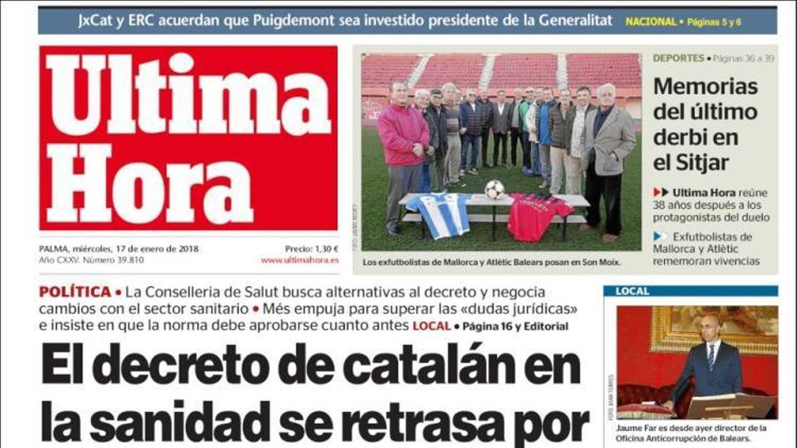 """""""El separatisme desafia la llei i pacta escollir Puigdemont"""", portada d''El País'"""