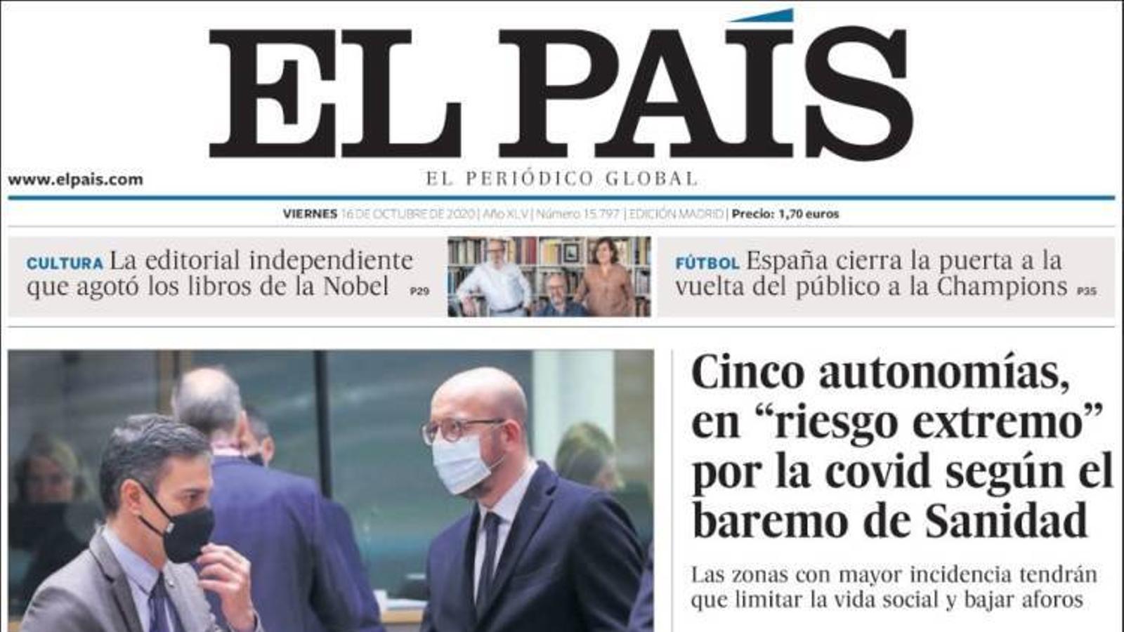 Portada 16 octubre 2020 El País