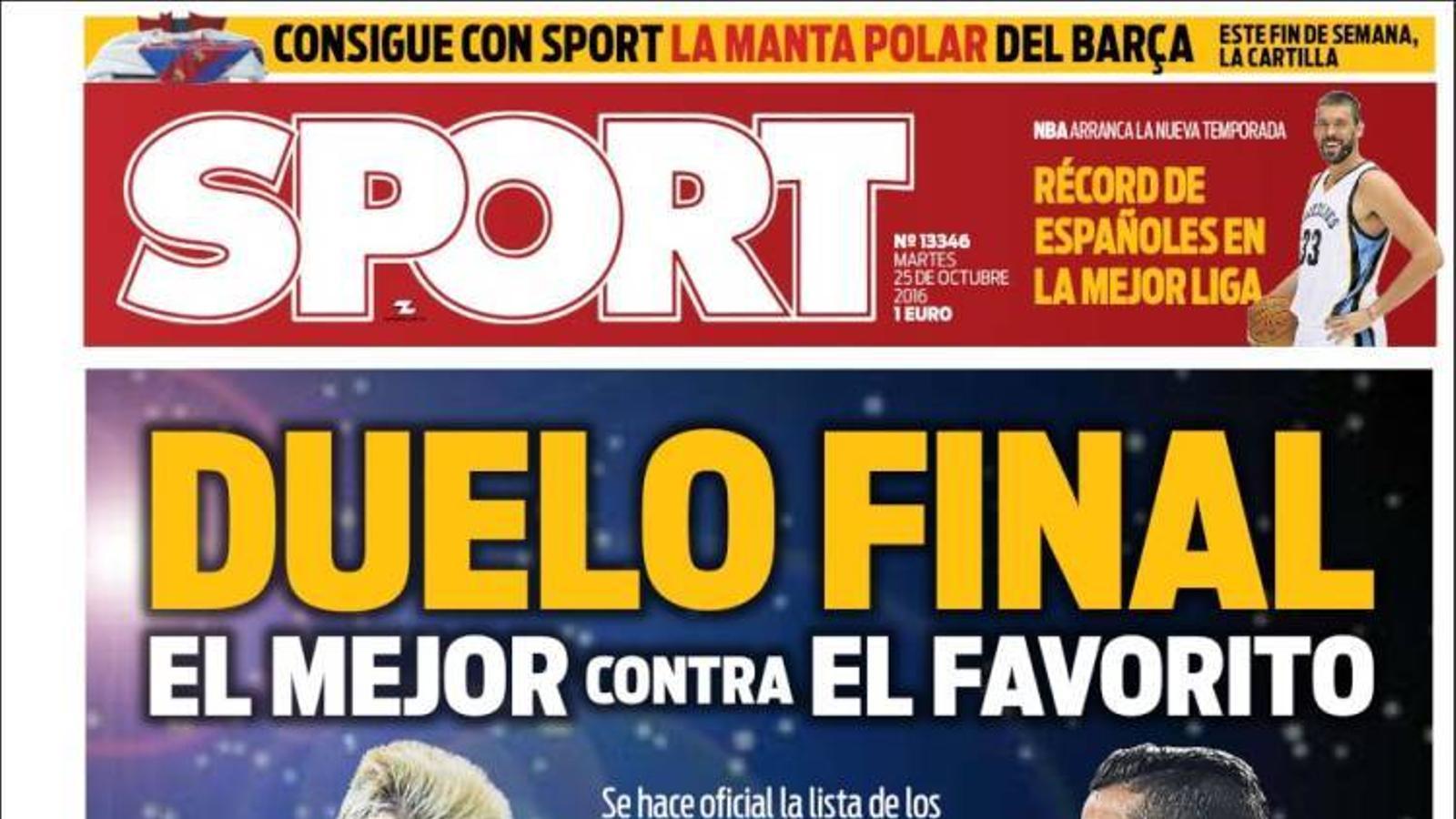 Portada 25 octubre Sport