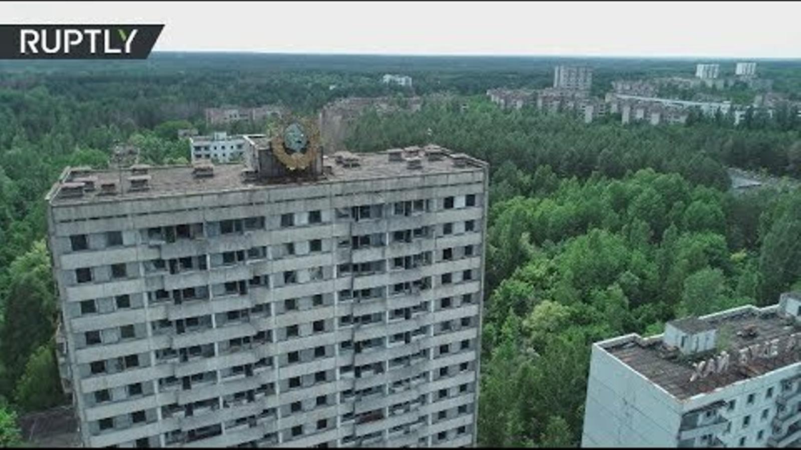 vista d'ocell de la central nuclear de txernòbil