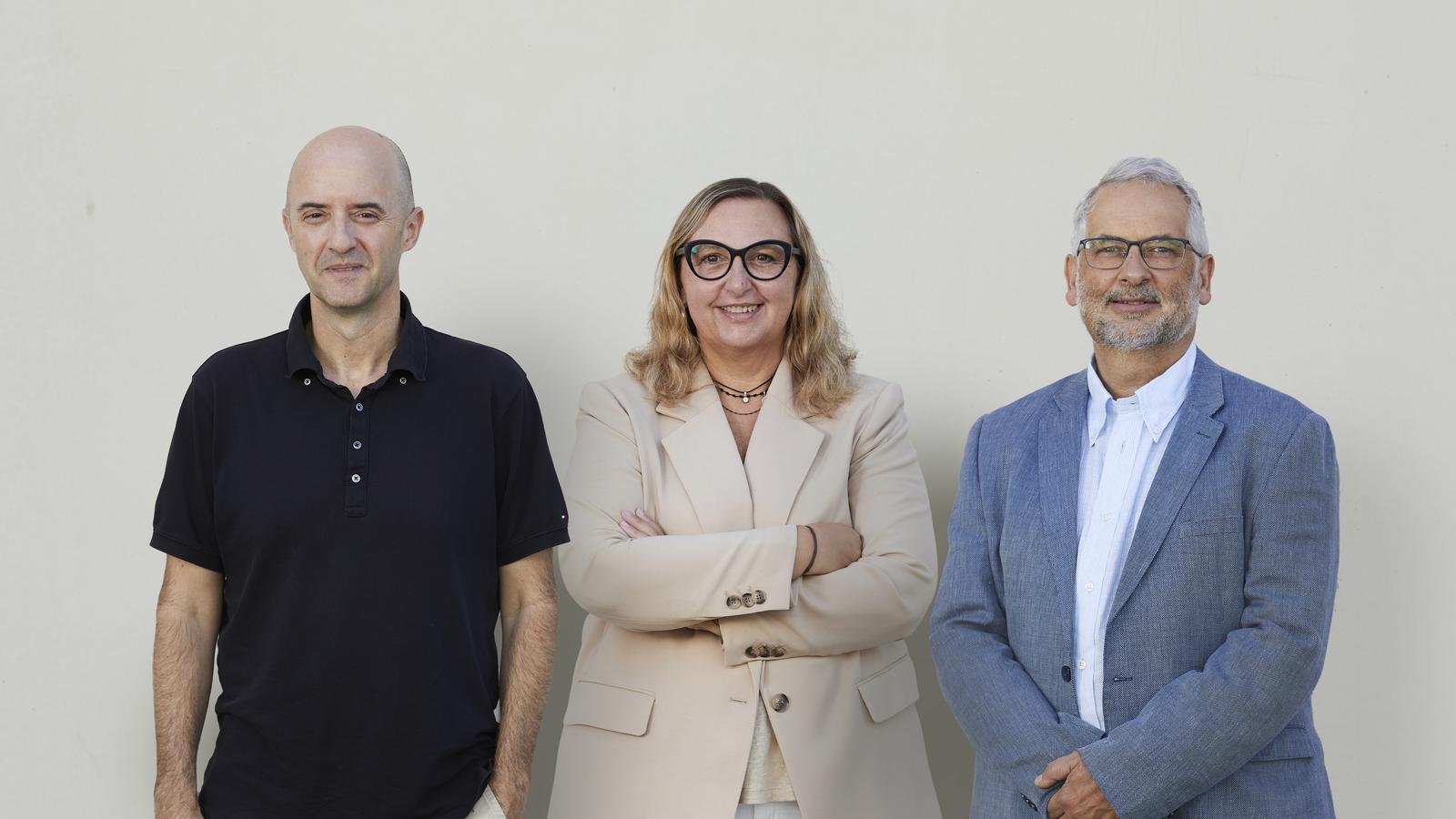 D'esquerra a dreta: Perejoan Cardona, investigador creador de la Ruti; Olga Rue, consellera delegada d'Archivel; i Luis Ruiz, conseller delegat d'Immuni