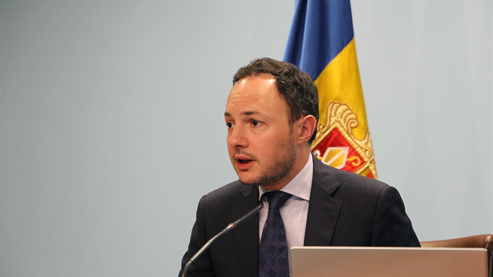 El ministre portaveu aquest dimecres, Xavier Espot, durant la roda de premsa posterior al consell de ministres. / M. F. (ANA)
