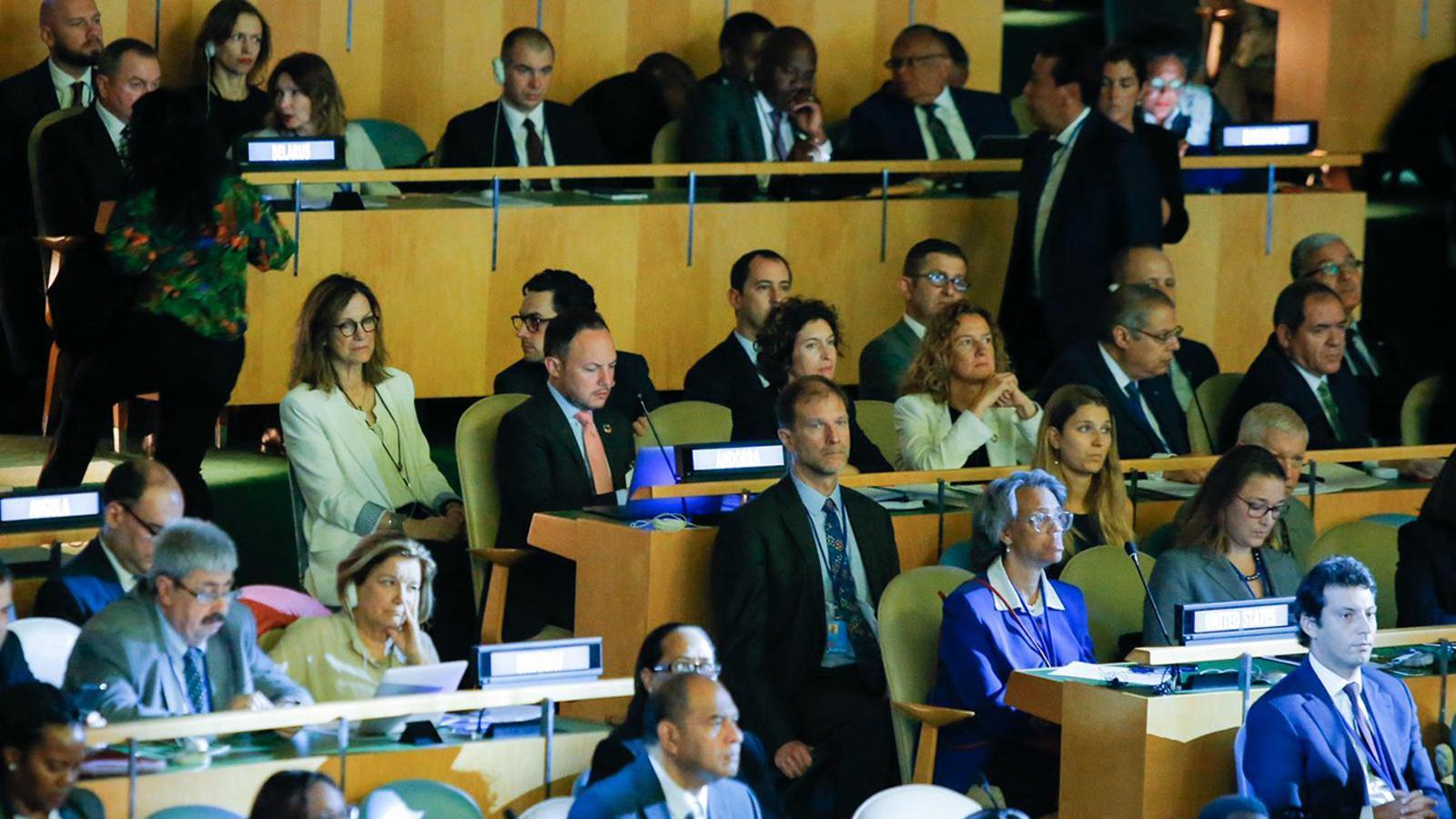 La delegació andorrana, integrada pel cap de Govern, Xavier Espot, i les ministres d'Afers Exteriors i Medi Ambient, Maria Ubach i Sílvia Calvó. / SFG