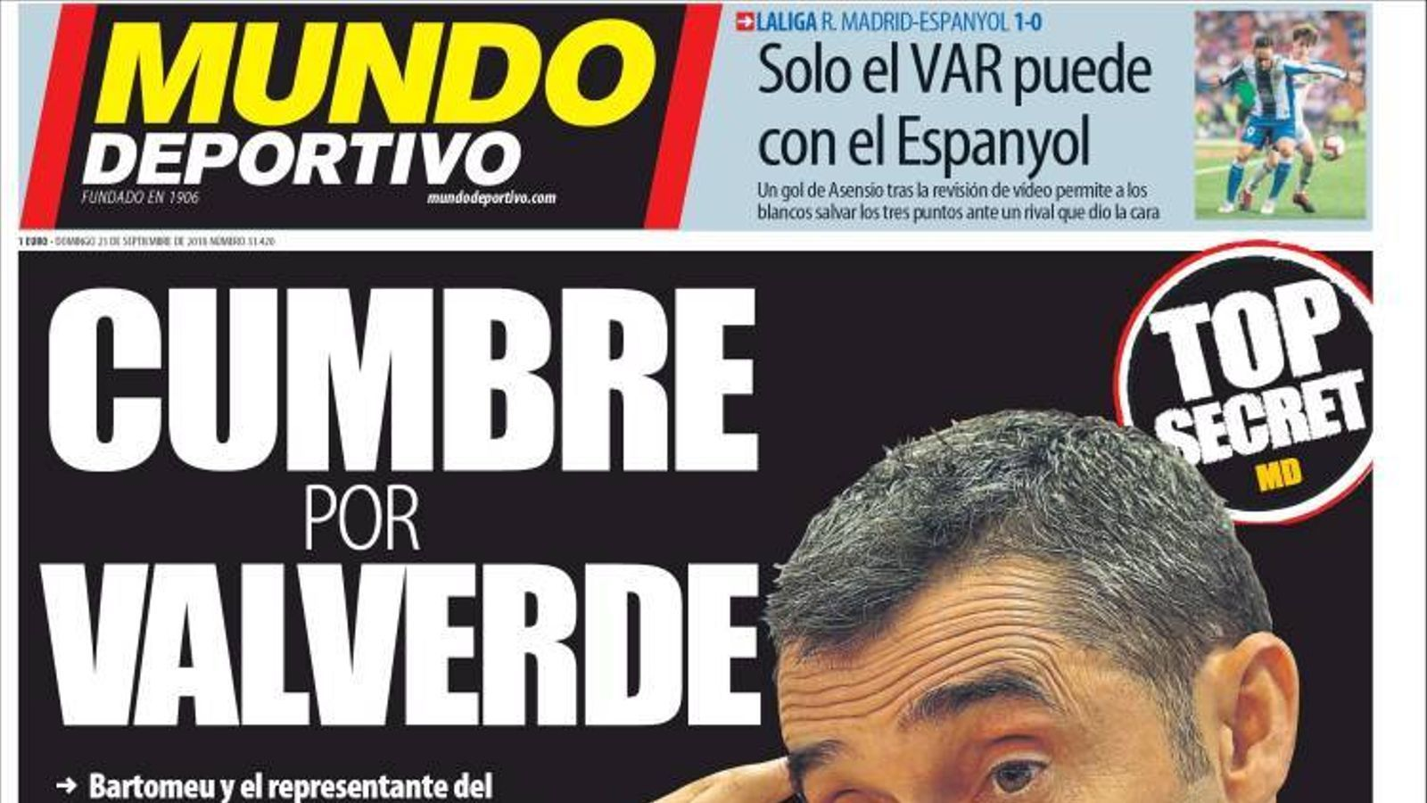 Portada 23 setembre 2018 Mundo Deportivo