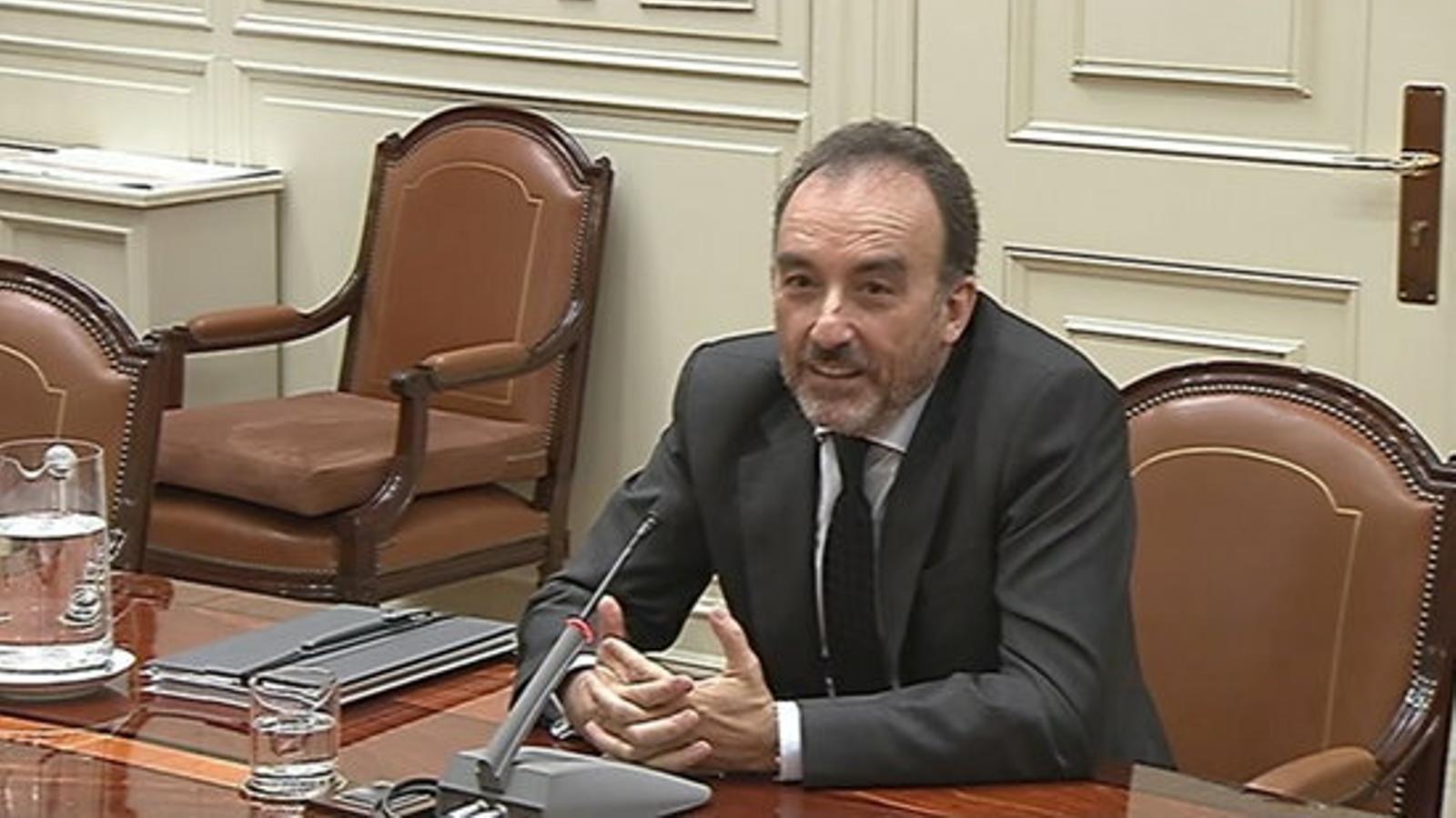 El president de la sala segona del Tribunal Suprem, Manuel Marchena, exposant la seva candidatura per revalidar el càrrec