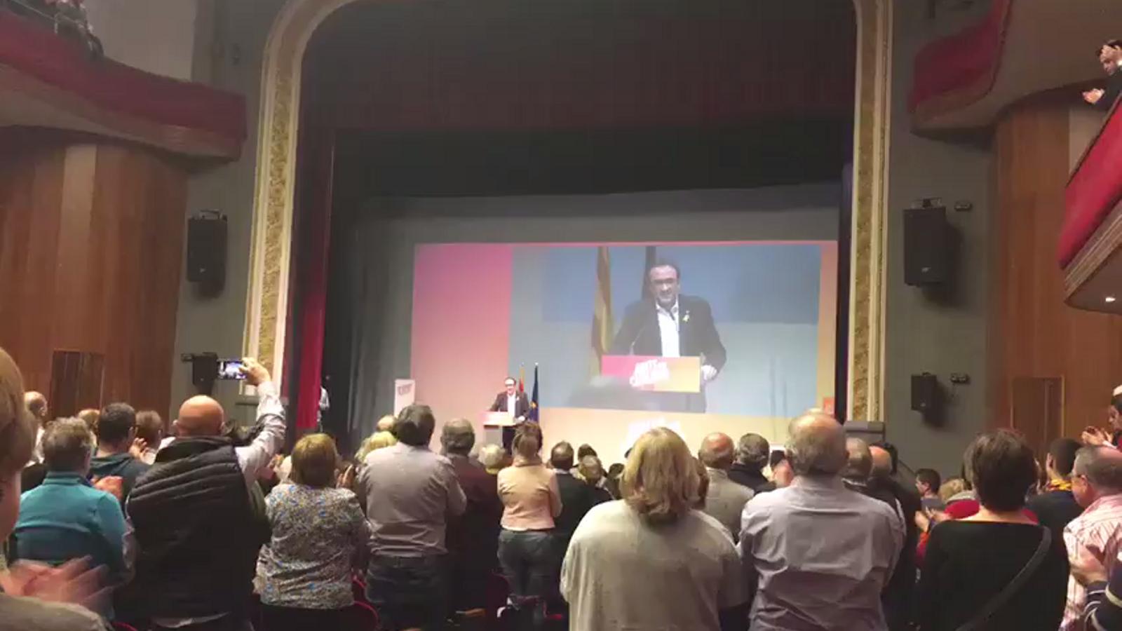 """Crits de """"llibertat"""" i """"conseller"""" en la intervenció de Josep Rull durant el míting de Junt per Catalunya a Mollerussa"""