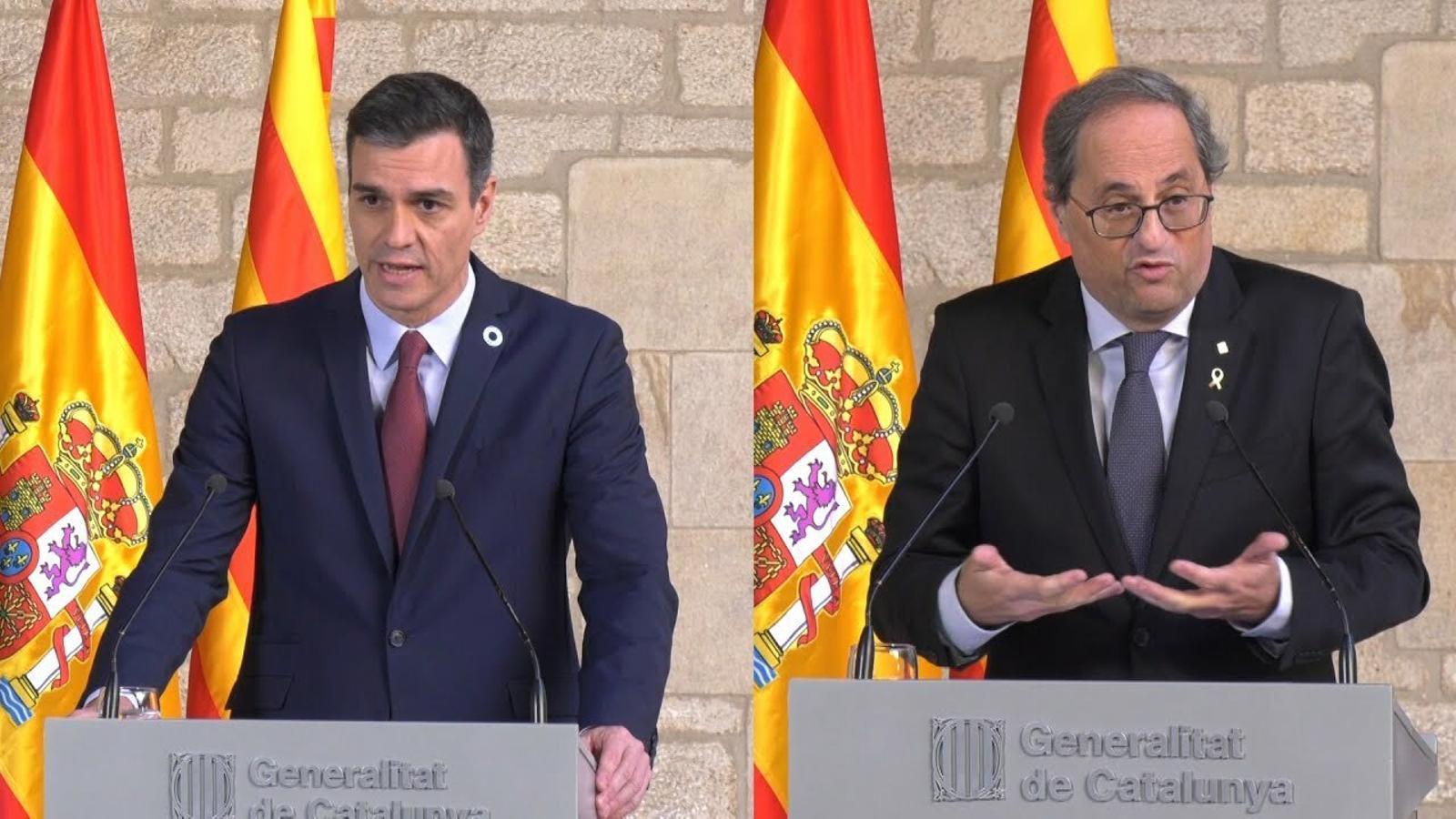 Torra retreu a Sánchez que encara no sap quina és la proposta del govern espanyol