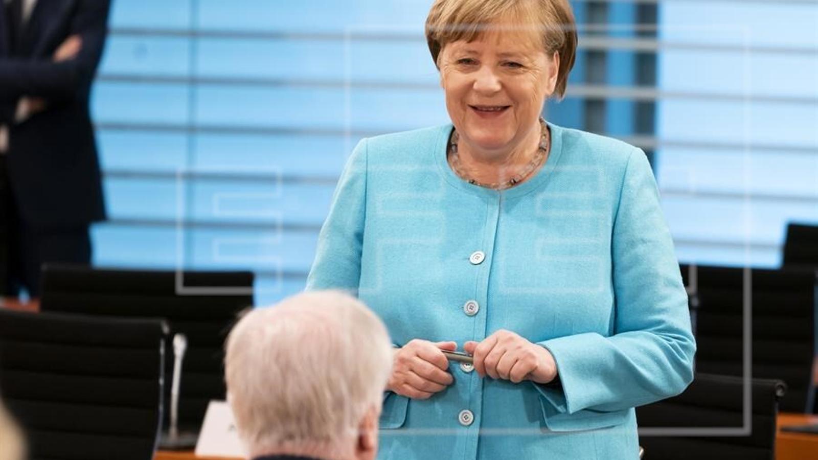 Angela Merkel, a la reunió setmanal del govern alemany aquest dimecres.