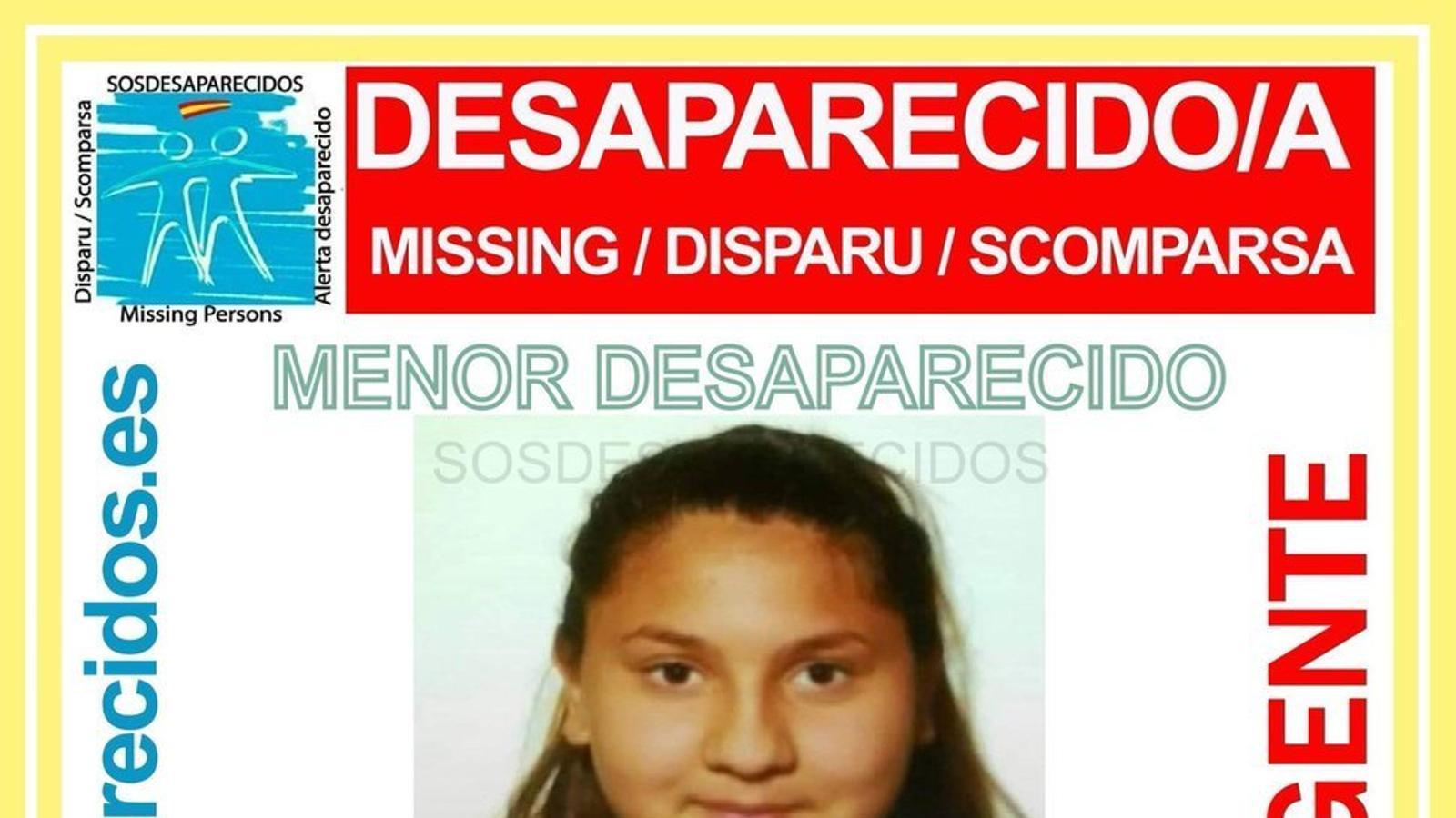 Imatge de l'adolescent desapareguda difosa per sosdesaparecidos.