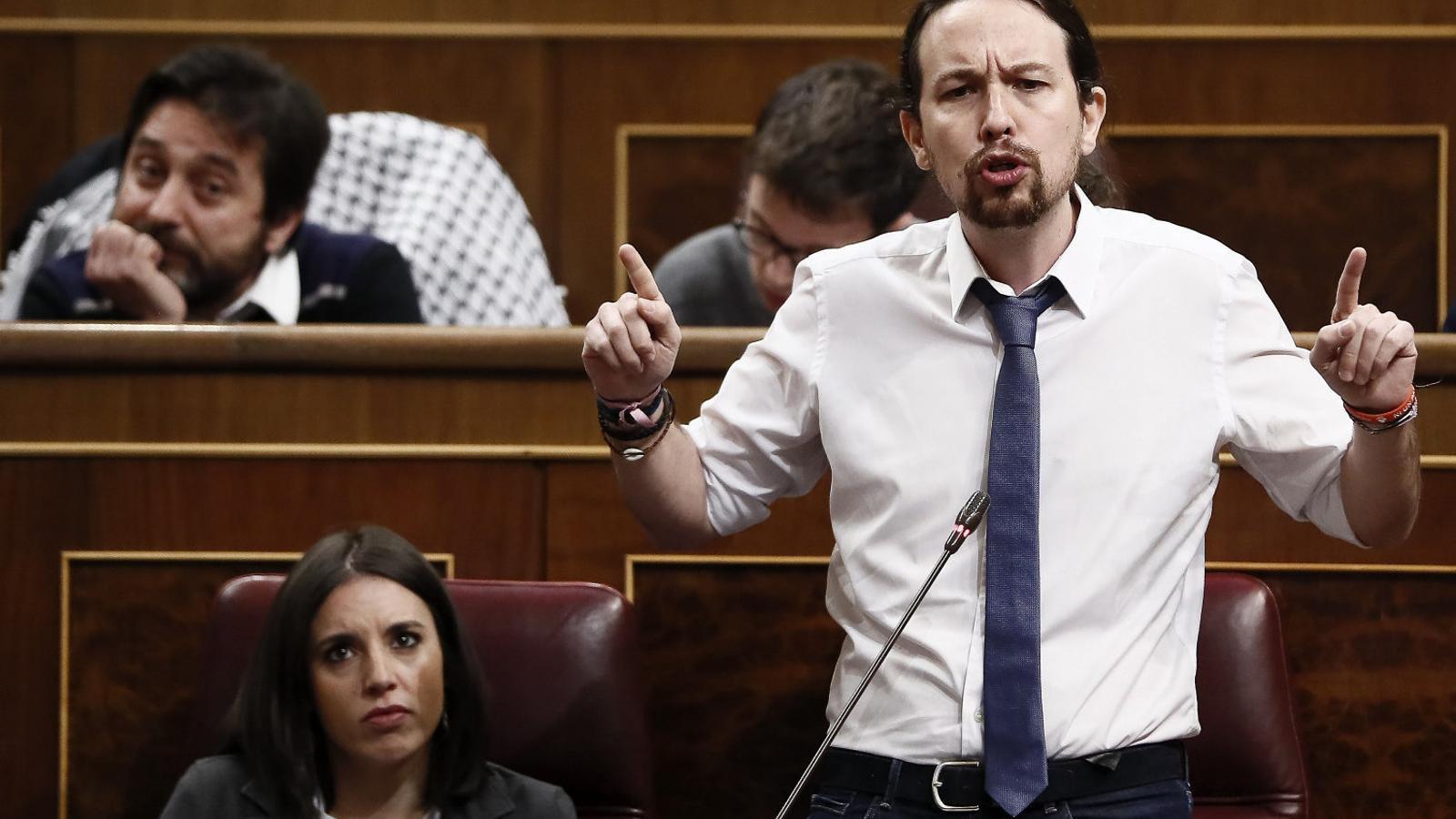 Pablo Iglesias durant una intervenció al Congrés de Diputats.