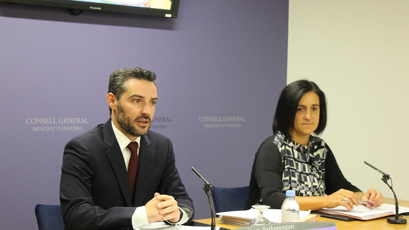 Els consellers generals de Demòcrates per Andorra, Marc Ballestà i Sofia Garrallà durant la roda de premsa d'aquest dimarts. / B. N.