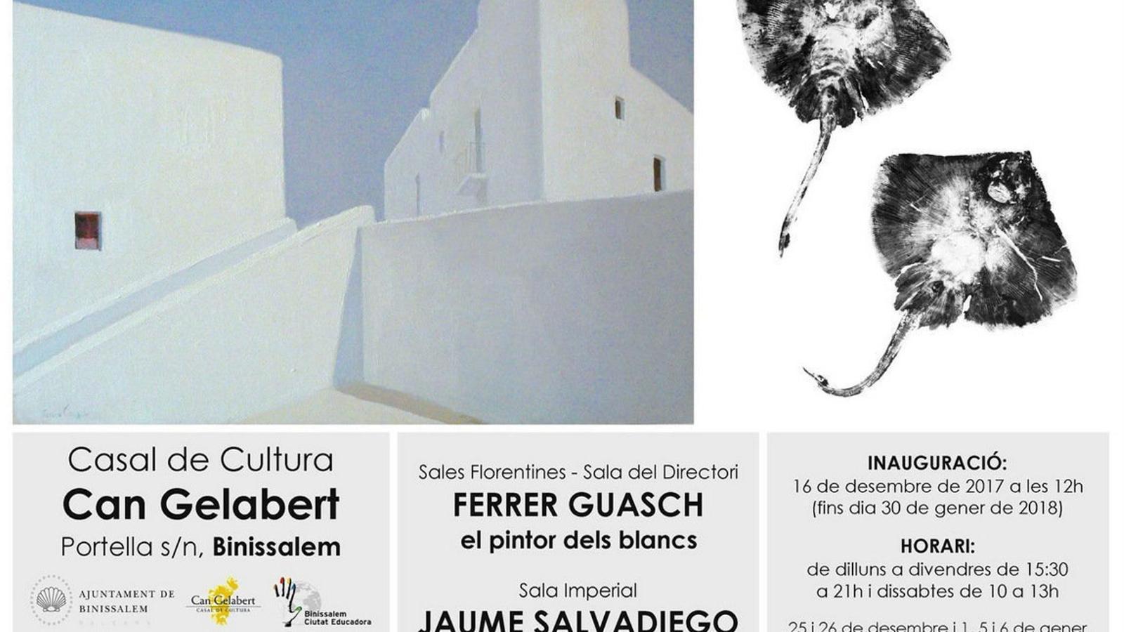 L'artista eivissenc Ferrer Guasch i alguna de les seves obres, amb el blanc com un dels protagonistes.