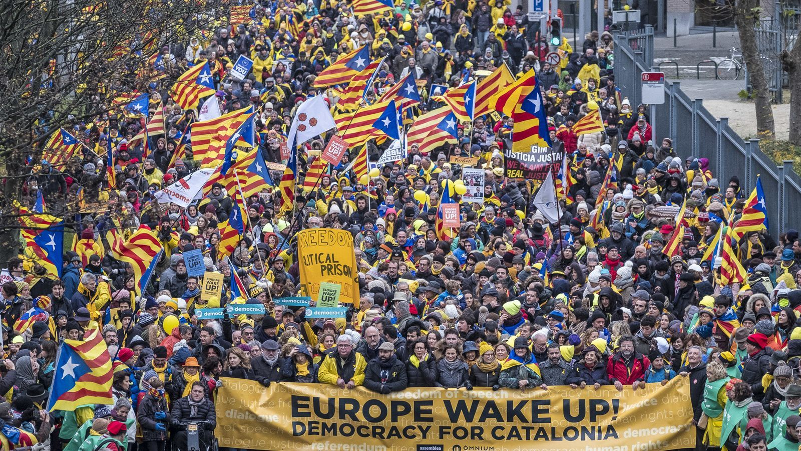 Una manifestació de catalans a Brussel·les / JORDI BORRÀS