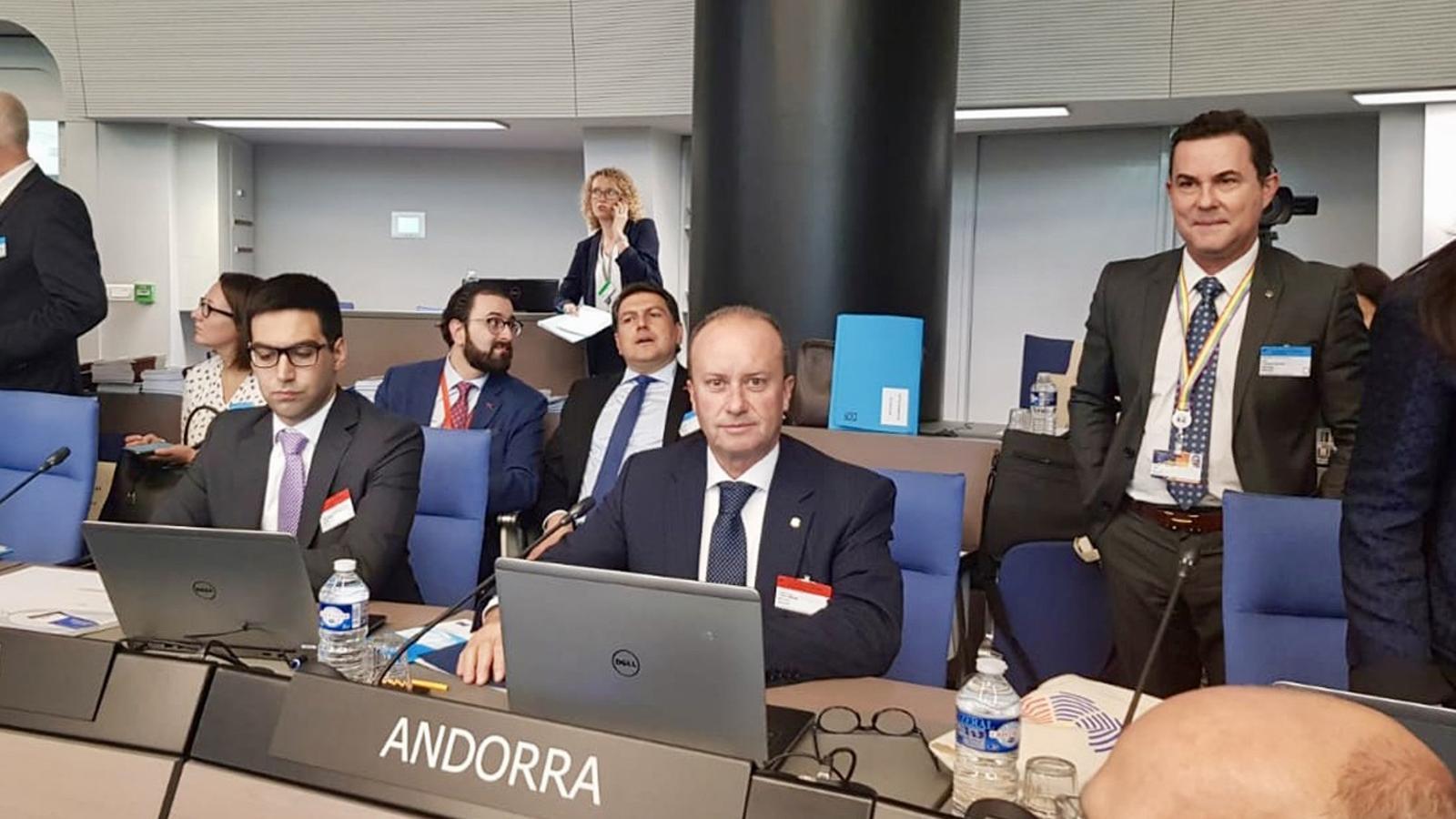 El ministre de Justícia i Interior, Josep Maria Rossell, al Consell d'Europa. / SFG